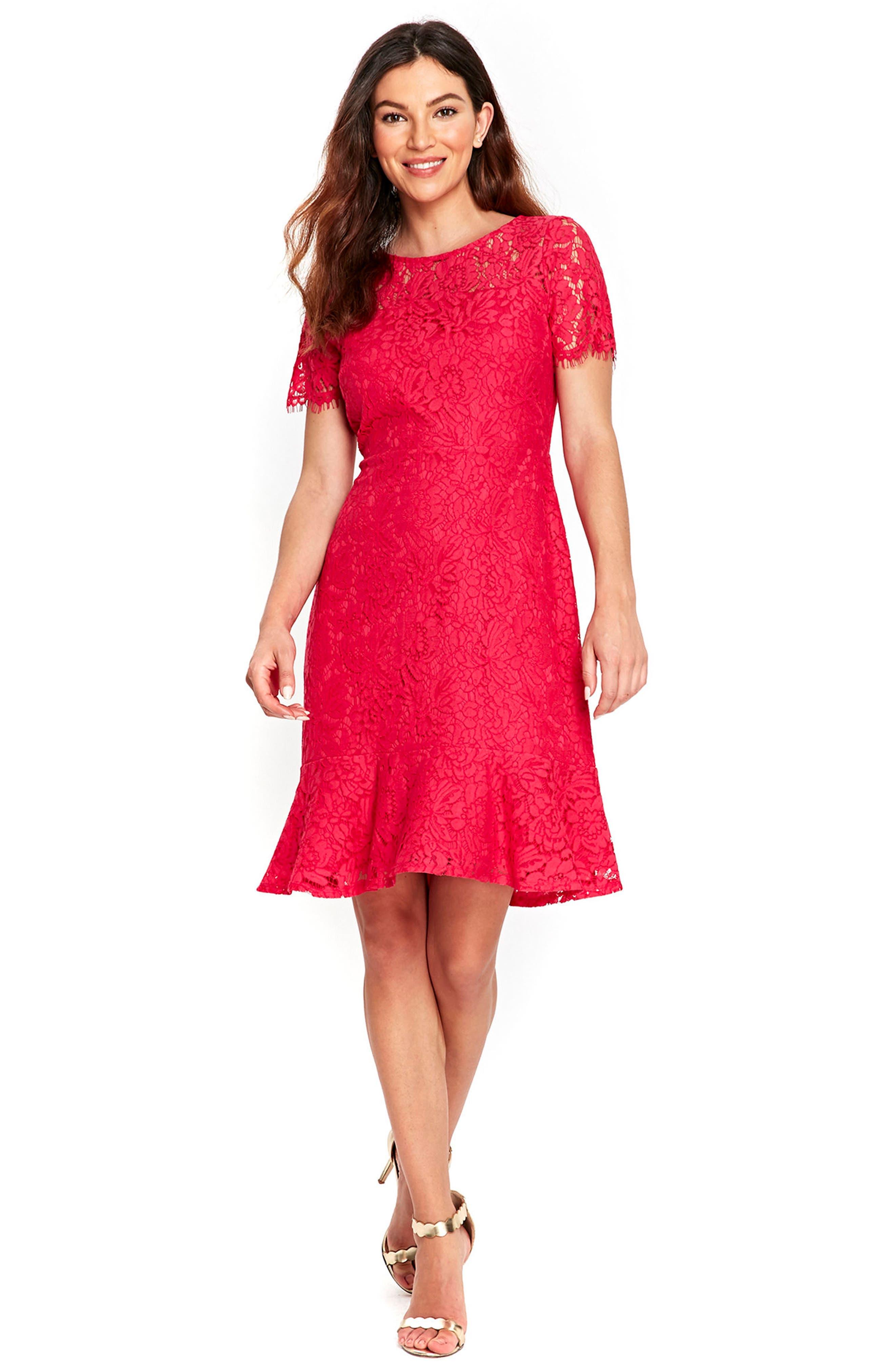 Lace Peplum Hem Dress,                             Alternate thumbnail 5, color,                             650