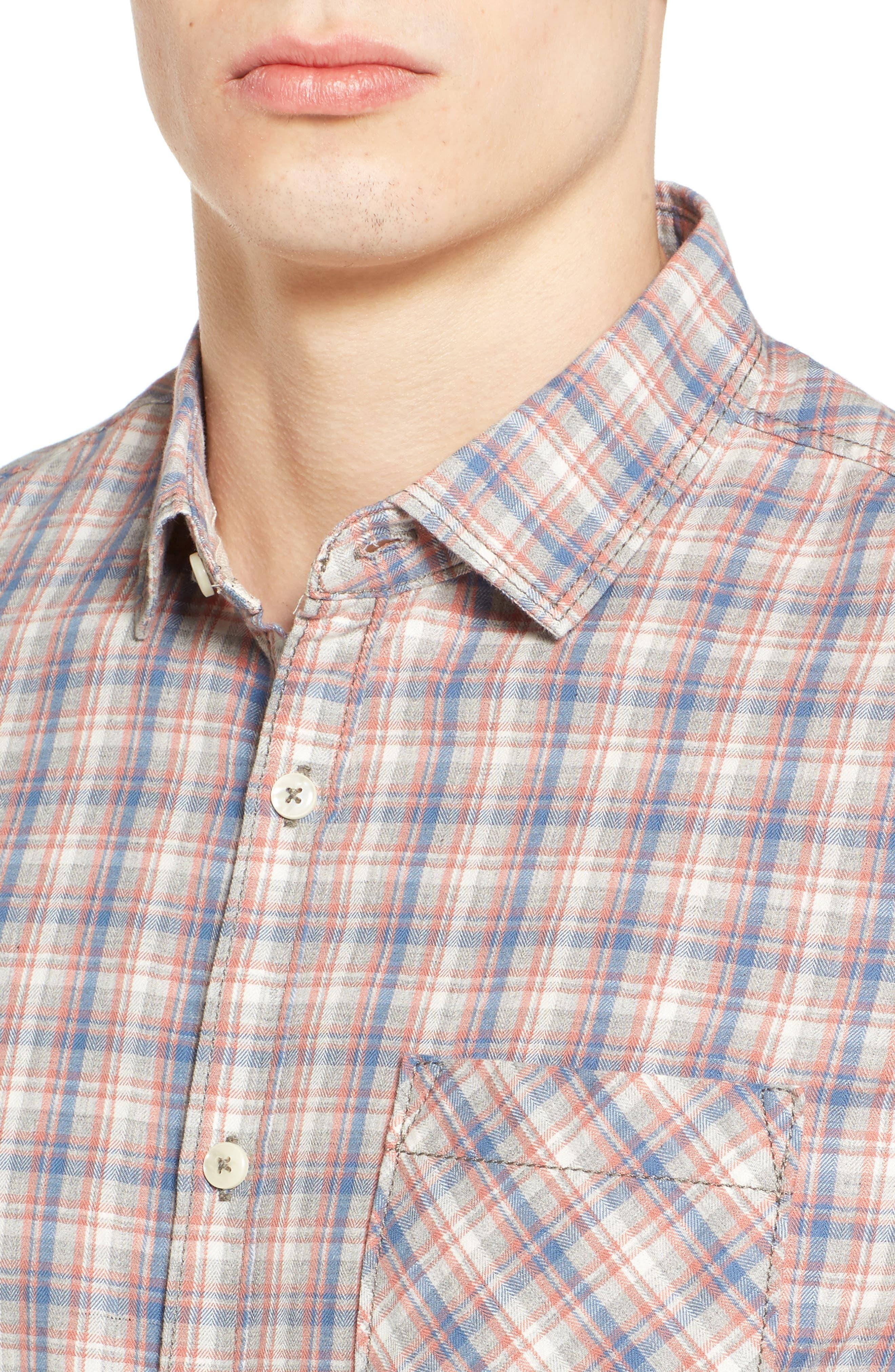 Solana Regular Fit Herringbone Plaid Sport Shirt,                             Alternate thumbnail 4, color,                             045