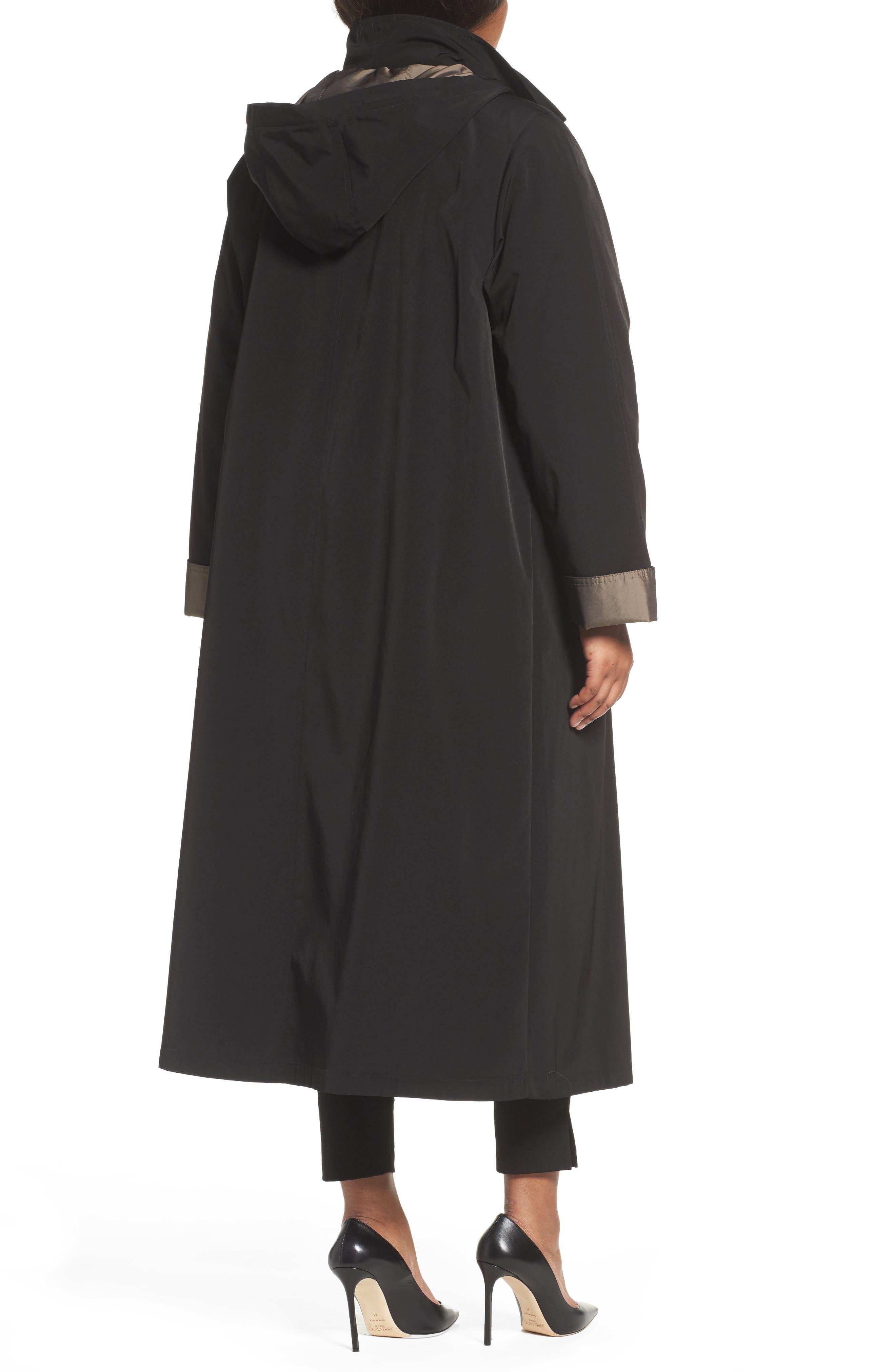 Long Raincoat with Detachable Hood & Liner,                             Alternate thumbnail 2, color,                             BLACK
