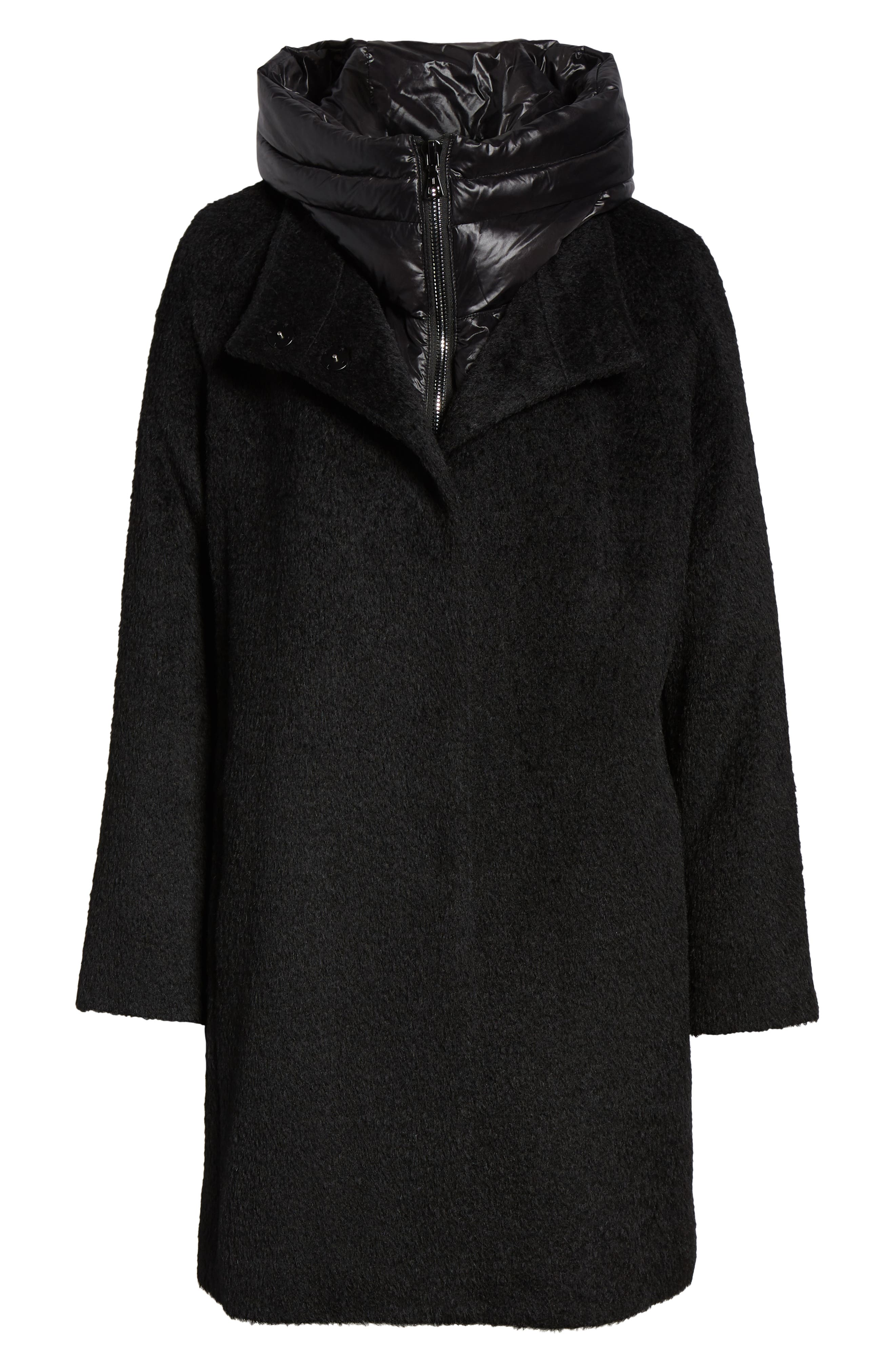 Coat with Hooded Bib,                             Alternate thumbnail 6, color,                             BLACK