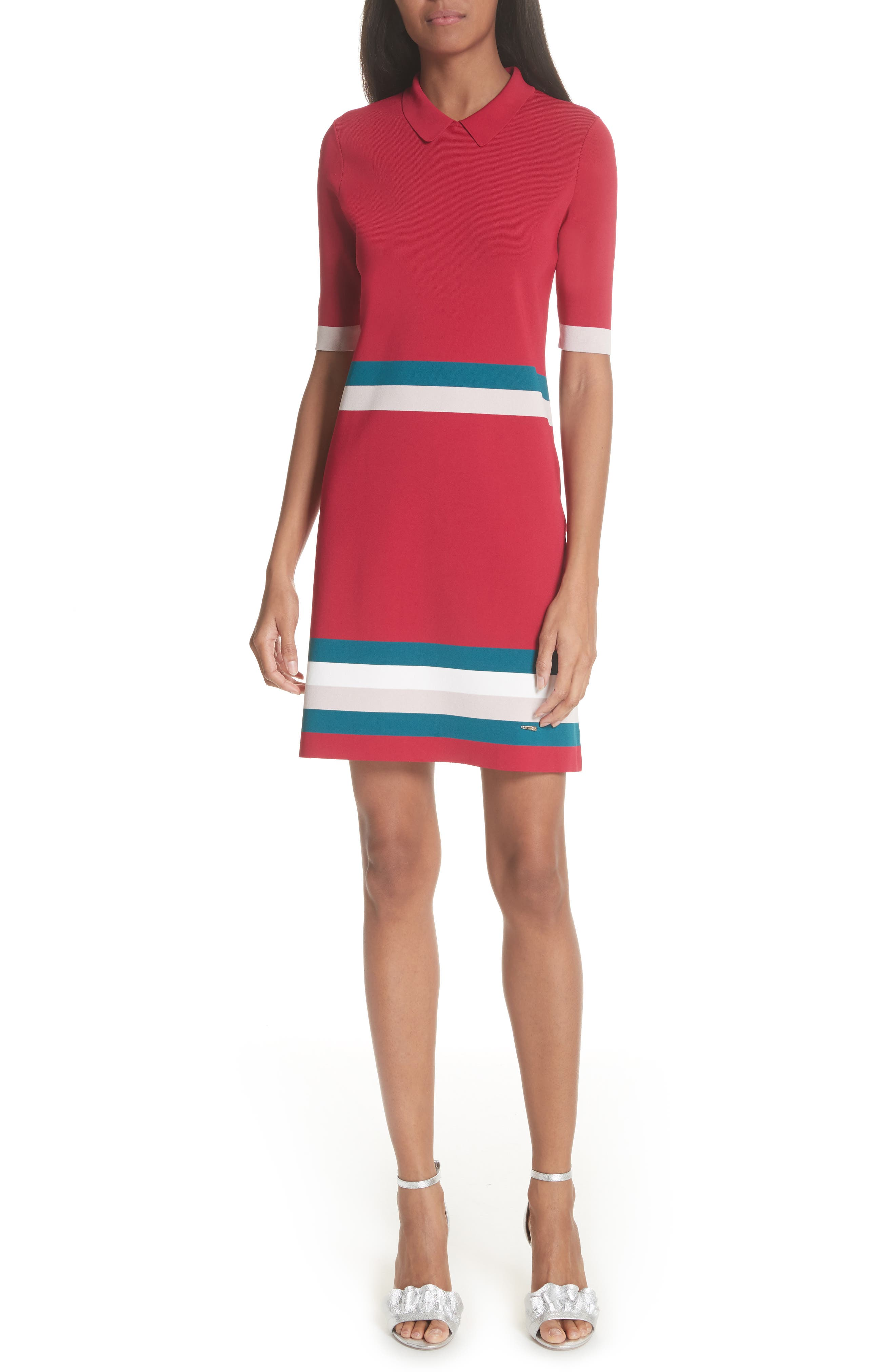Colour by Numbers Border Stripe Dress,                             Main thumbnail 2, color,