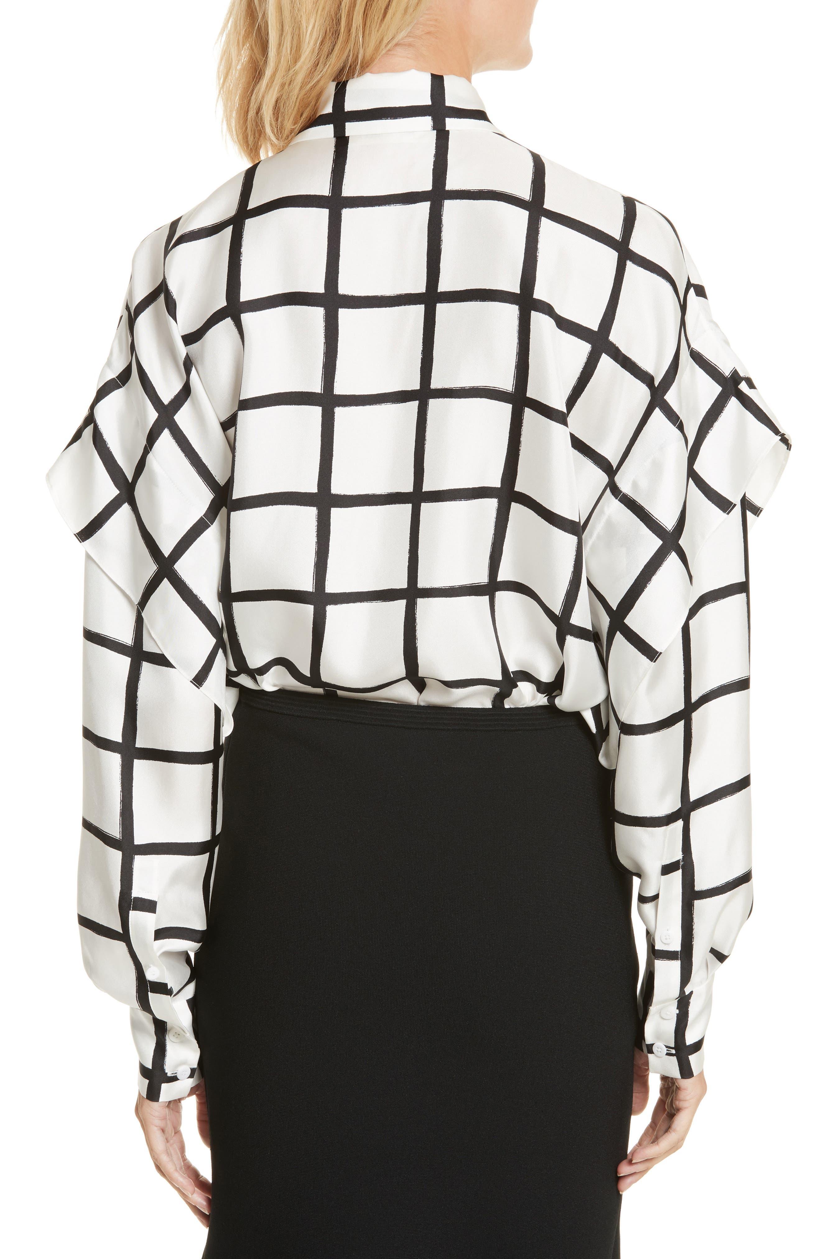 Diane von Furstenberg Windowpane Plaid Button Down Silk Shirt,                             Alternate thumbnail 2, color,                             178