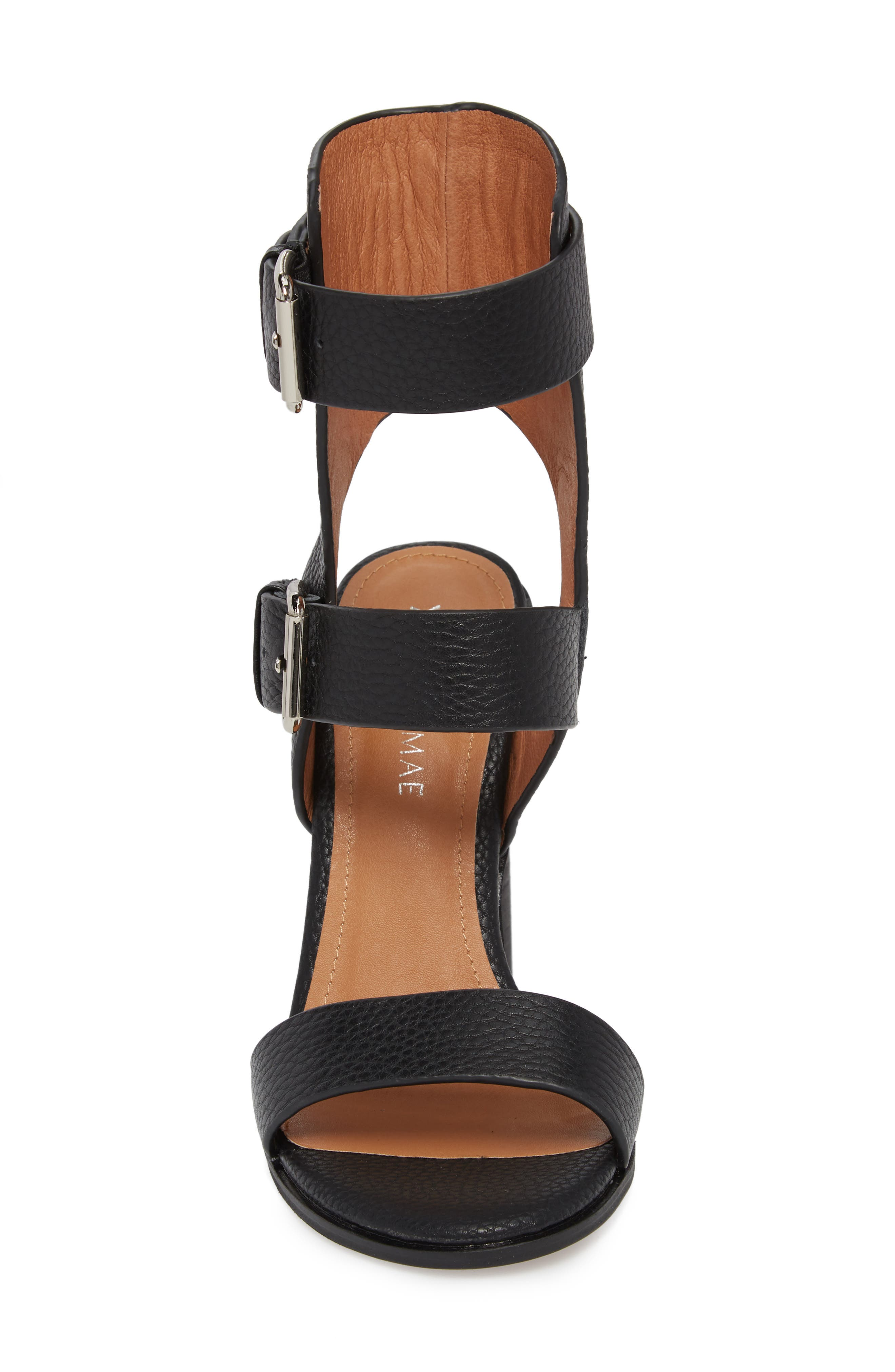 Abeba Block Heel Sandal,                             Alternate thumbnail 4, color,                             BLACK LEATHER