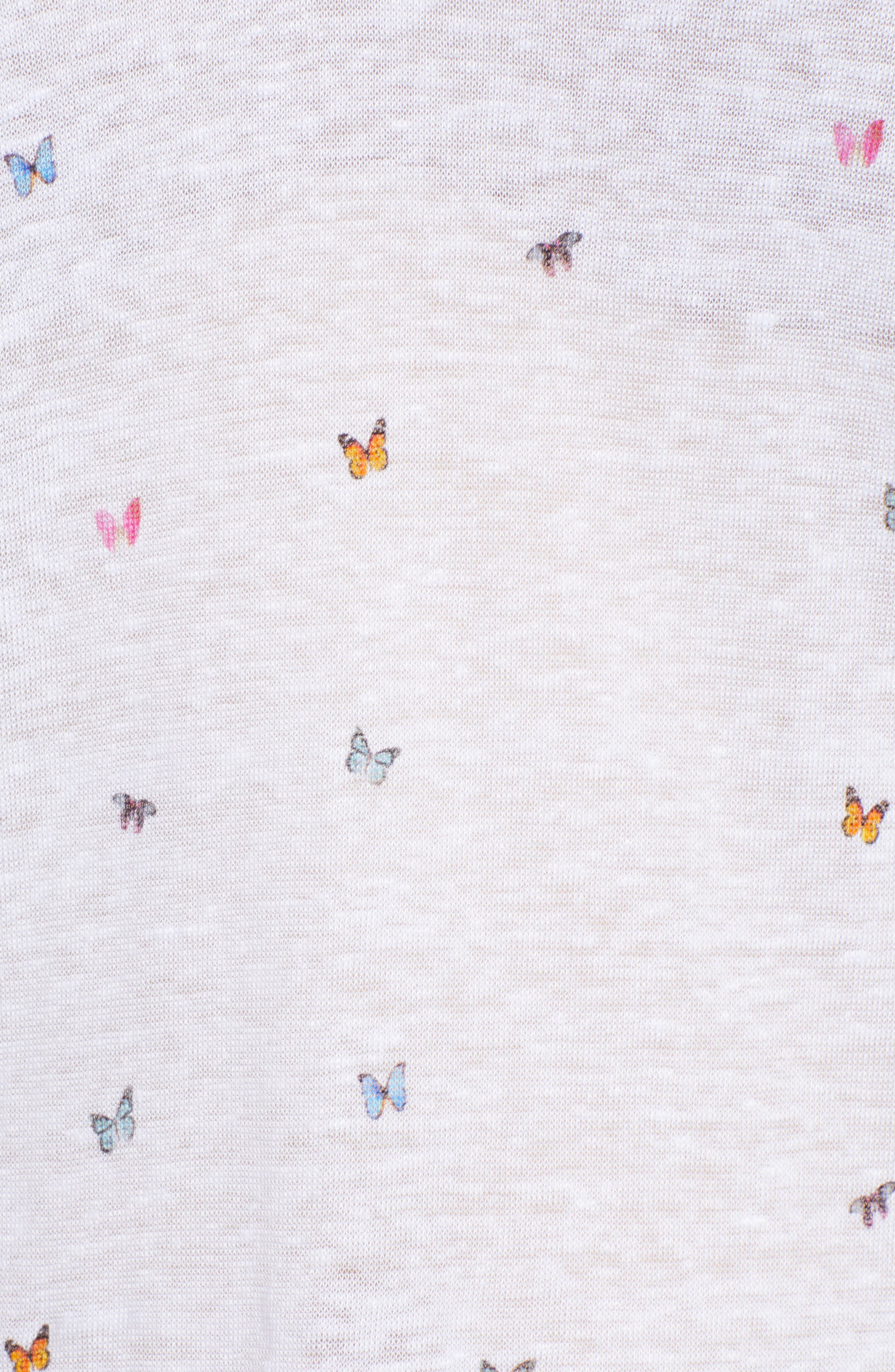 Cara Butterfly Print Tee,                             Alternate thumbnail 6, color,                             RAINBOW BUTTERFLIES-WHITE