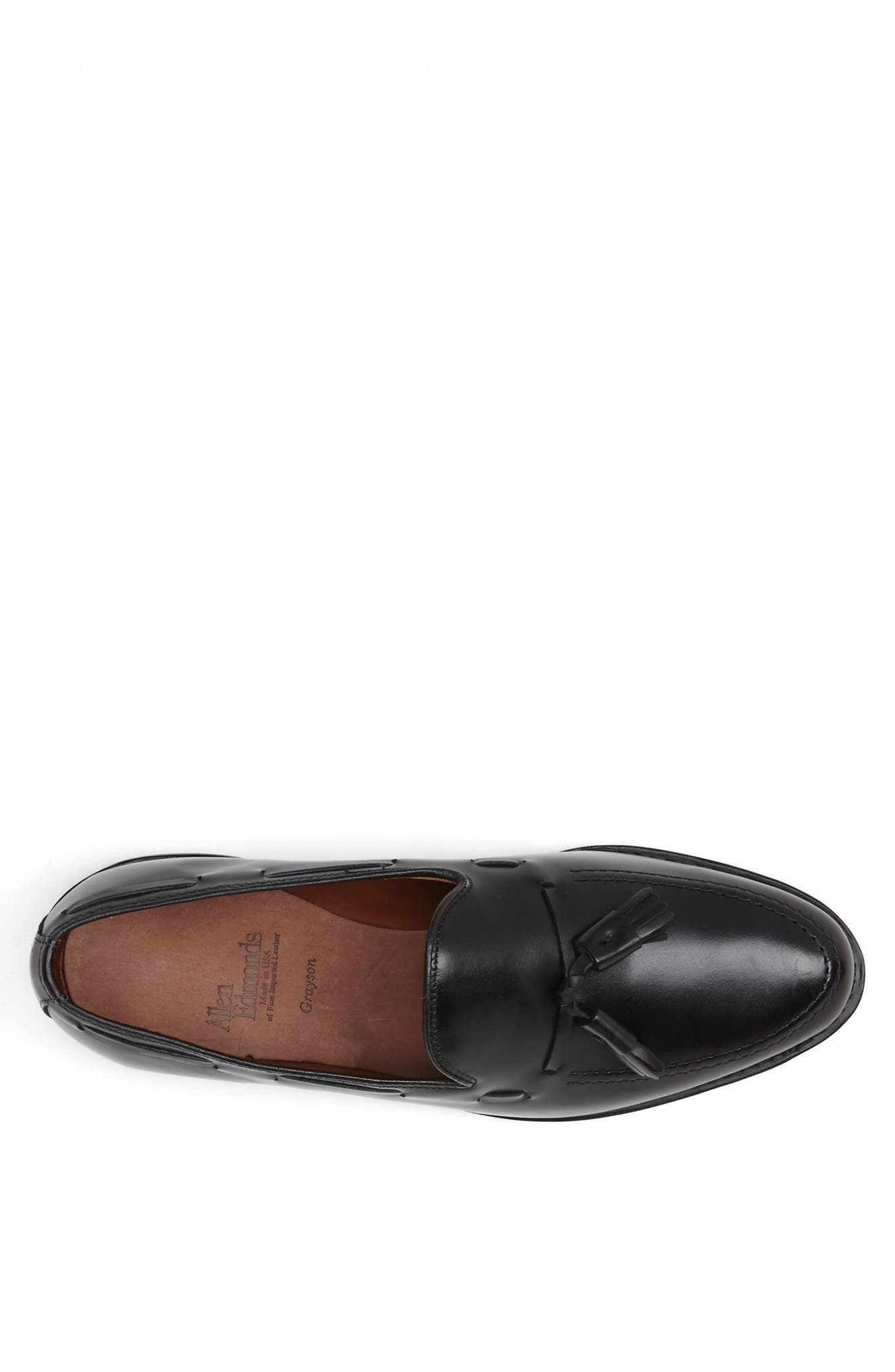 'Grayson' Tassel Loafer,                             Alternate thumbnail 3, color,                             Black Leather