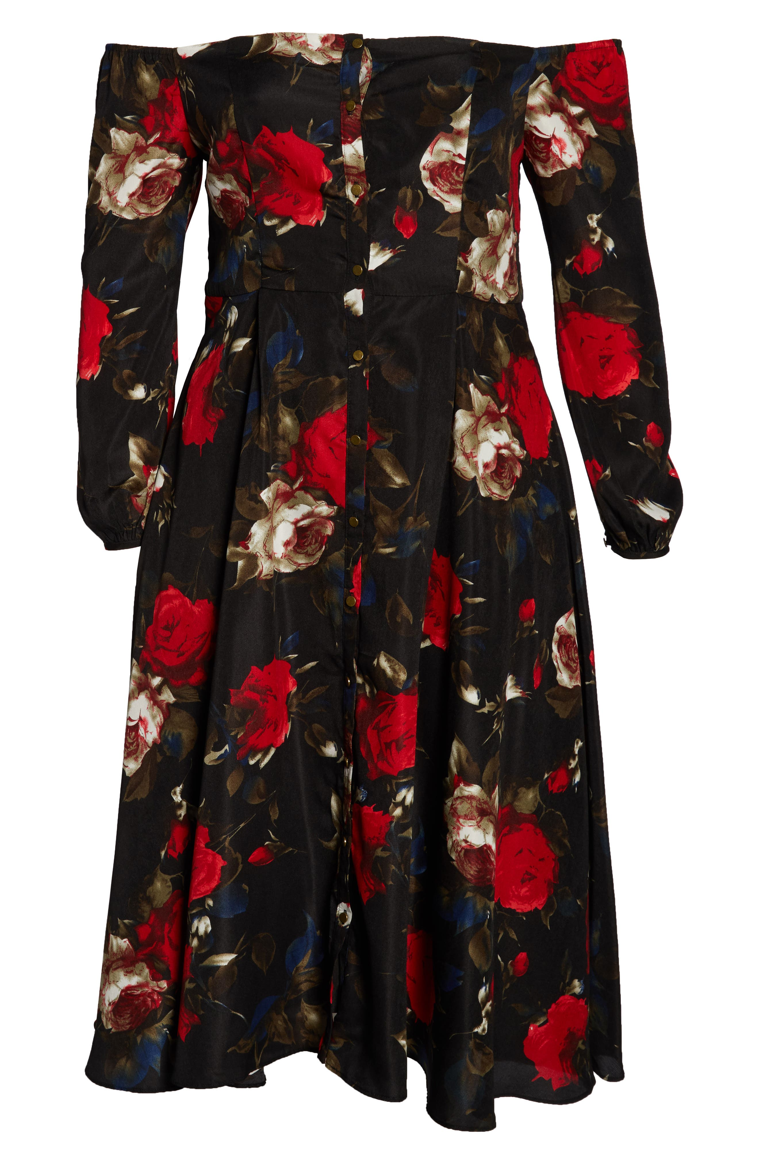 Off the Shoulder Midi Dress,                             Alternate thumbnail 13, color,                             BLACK LUSH ROSE FLORAL