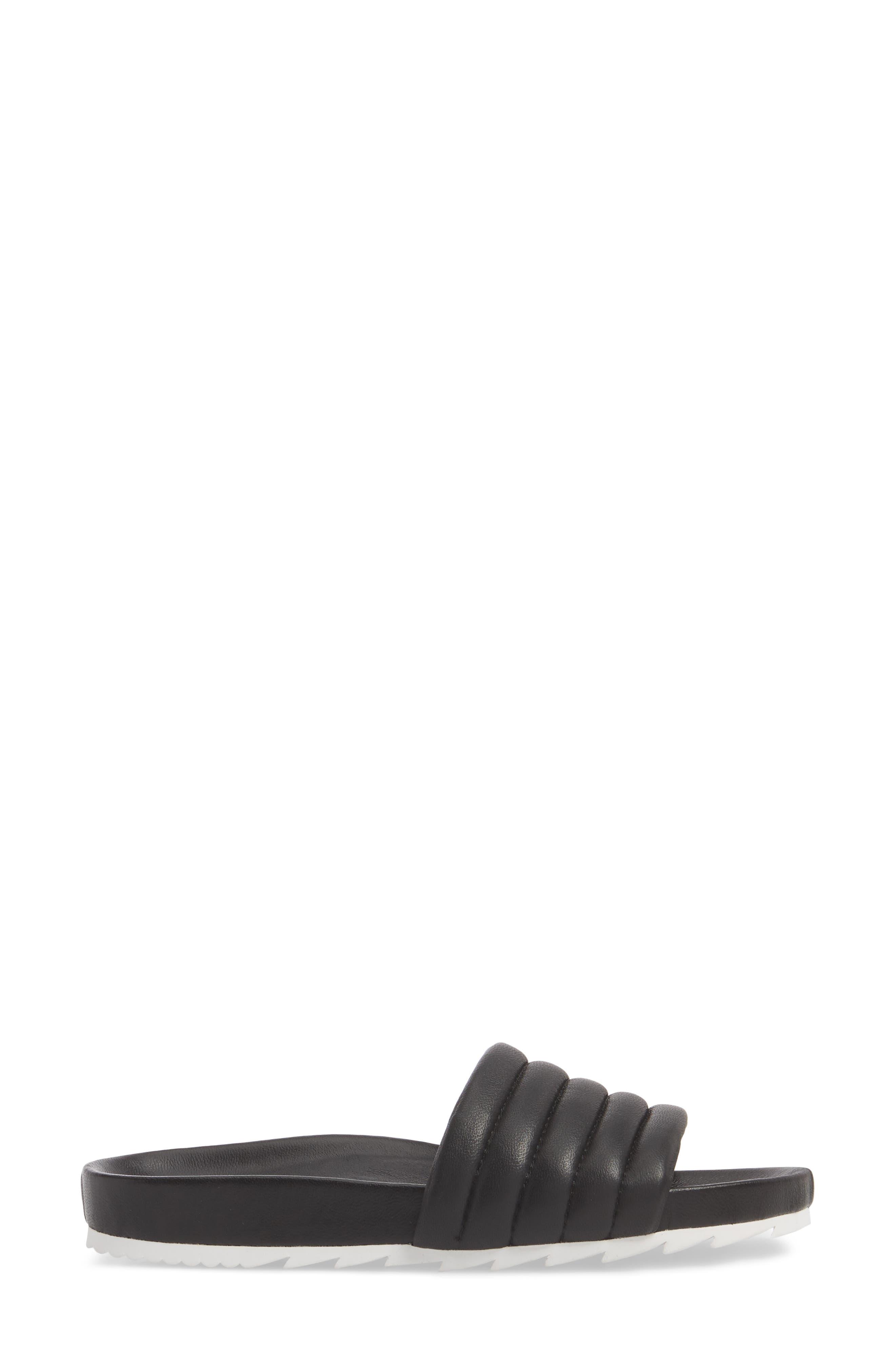 Eppie Slide Sandal,                             Alternate thumbnail 3, color,                             BLACK LEATHER