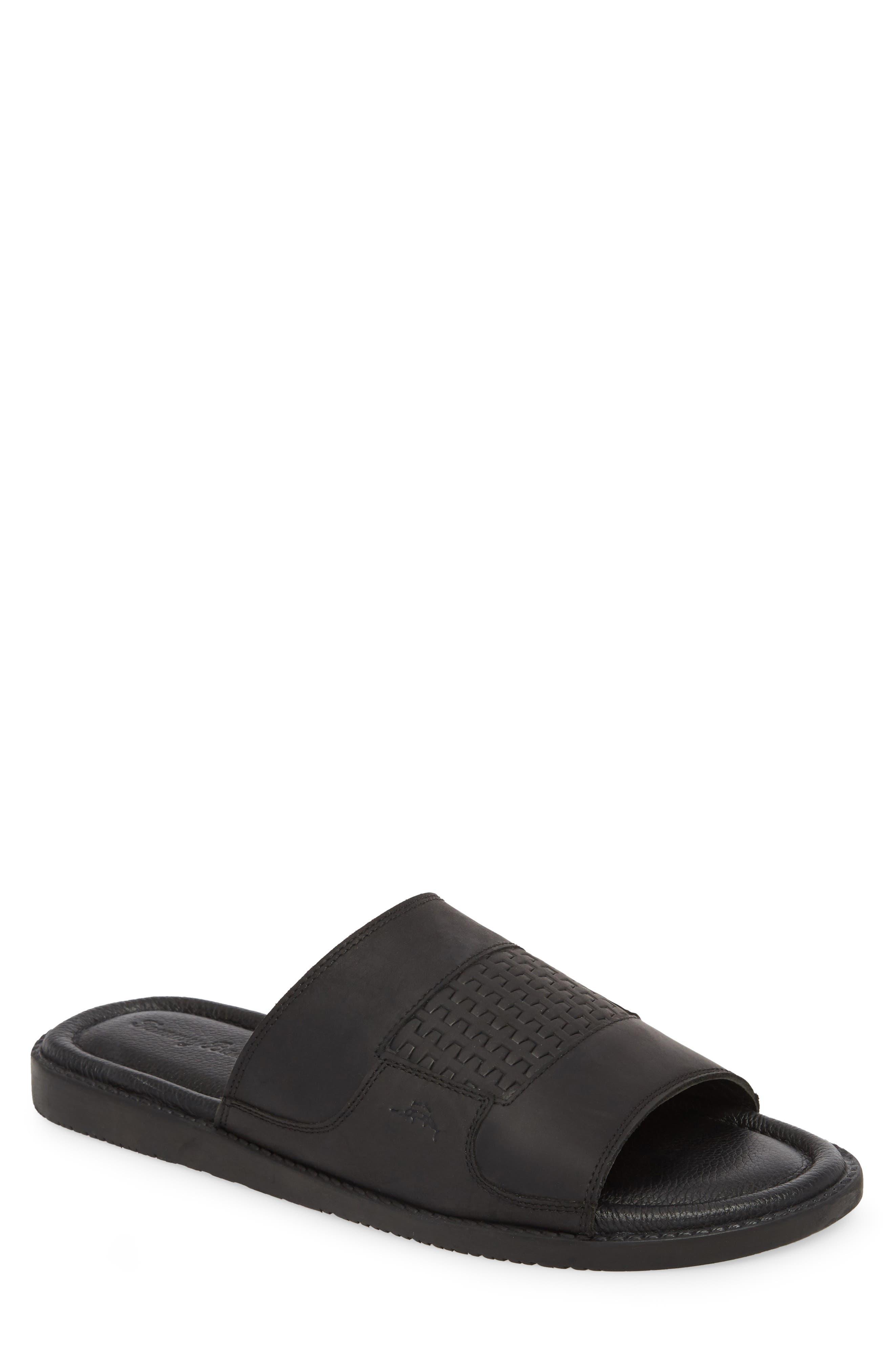 Gennadi Palms Slide Sandal,                             Main thumbnail 1, color,                             BLACK LEATHER