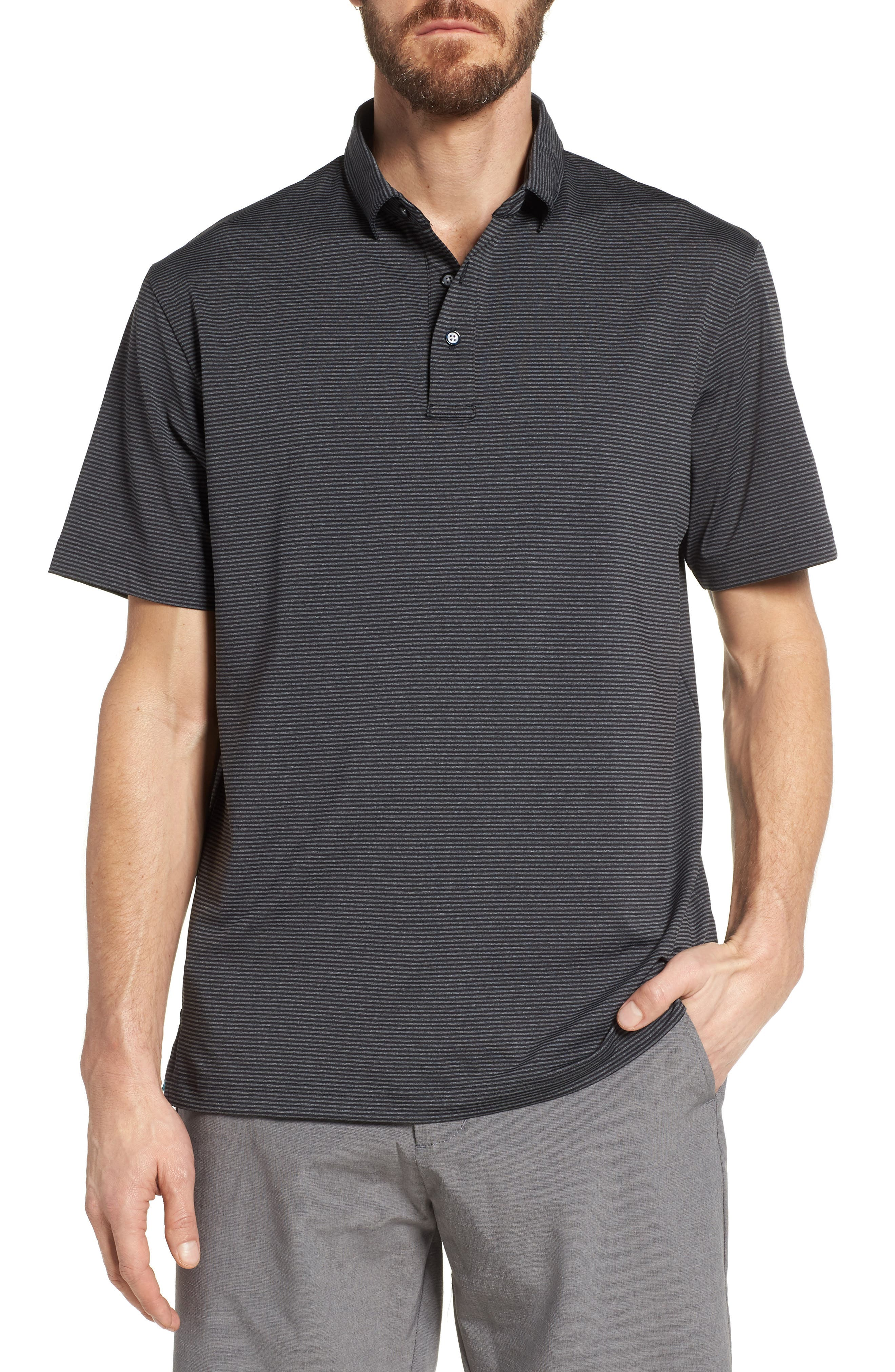 Oracle Stripe Jersey Polo,                         Main,                         color, CAVIAR/ CHARCOAL