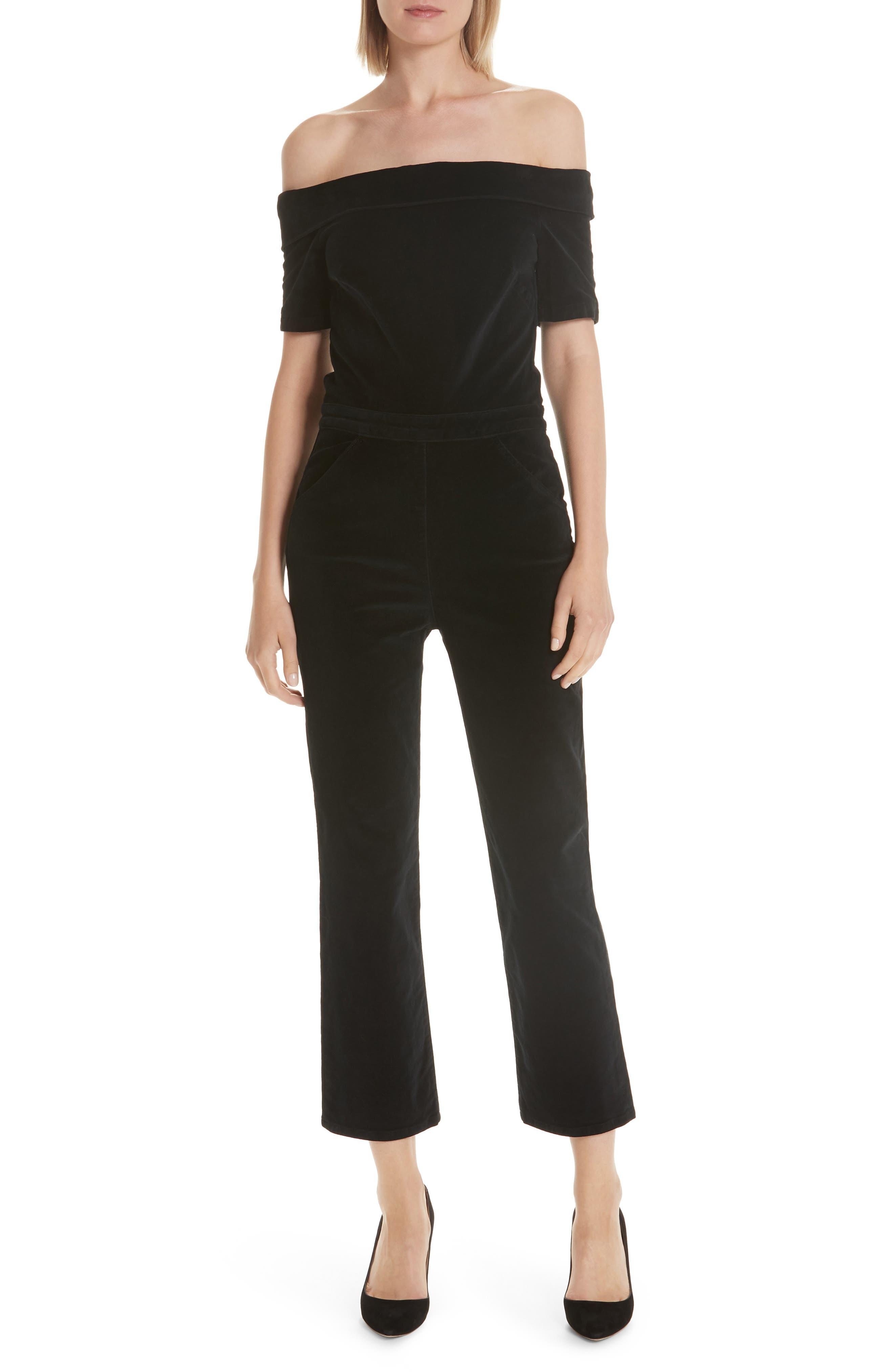 3X1 Off-Shoulder Velvet Straight-Leg Romper in True Black