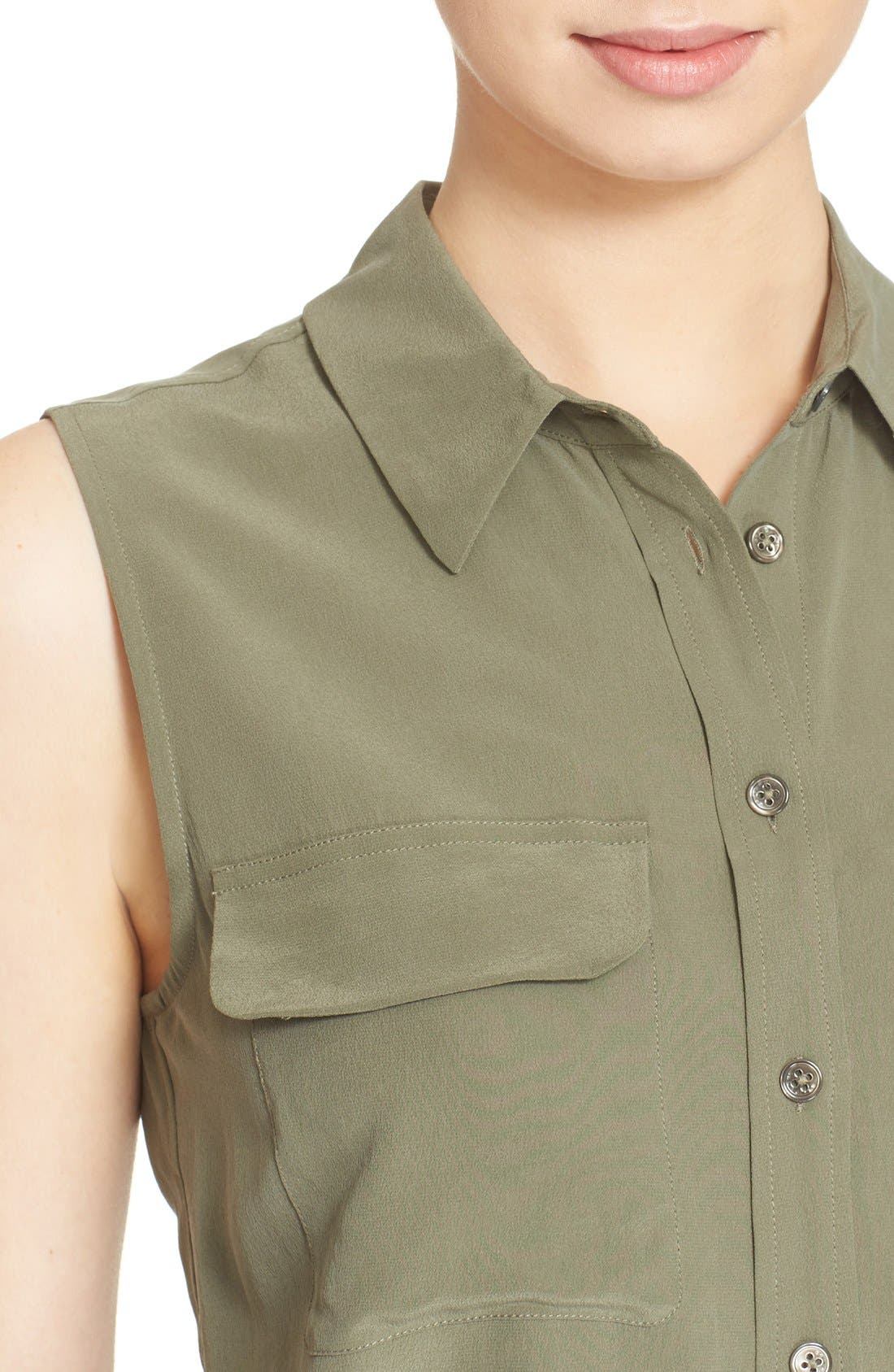 'Slim Signature' Sleeveless Silk Shirt,                             Alternate thumbnail 62, color,