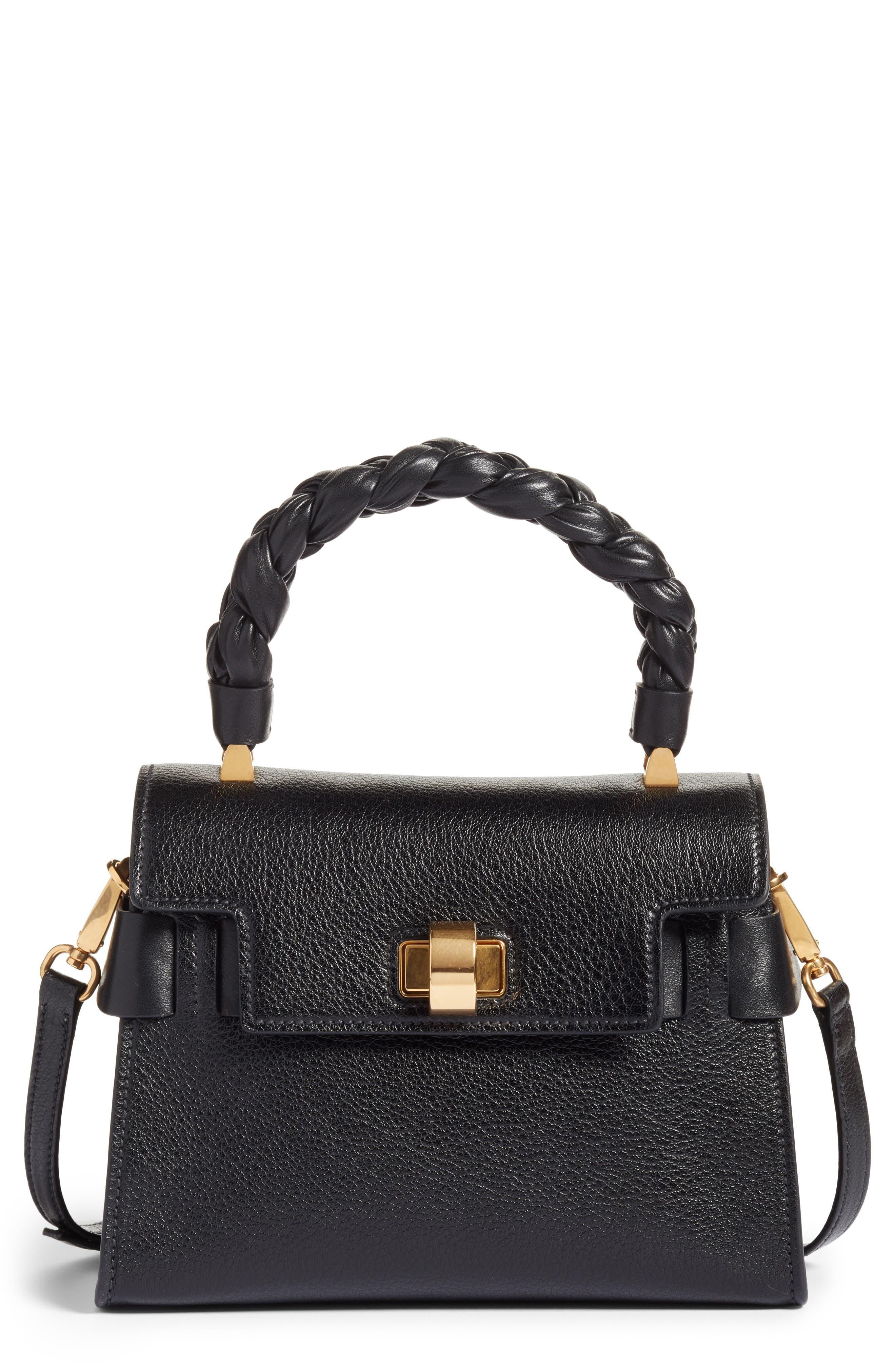 Madras Leather Top Handle Satchel,                         Main,                         color, 001