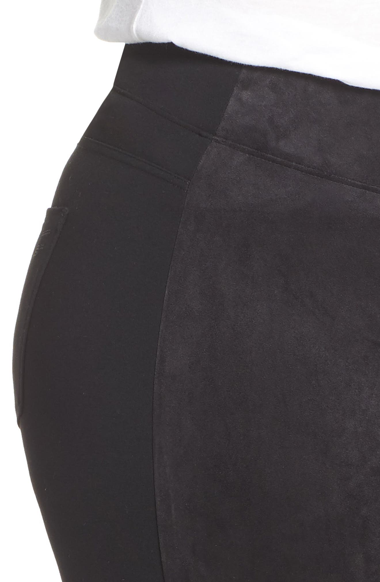SEVEN7,                             High Rise Pull-On Vegan Leather Pants,                             Alternate thumbnail 4, color,                             CAVIAR