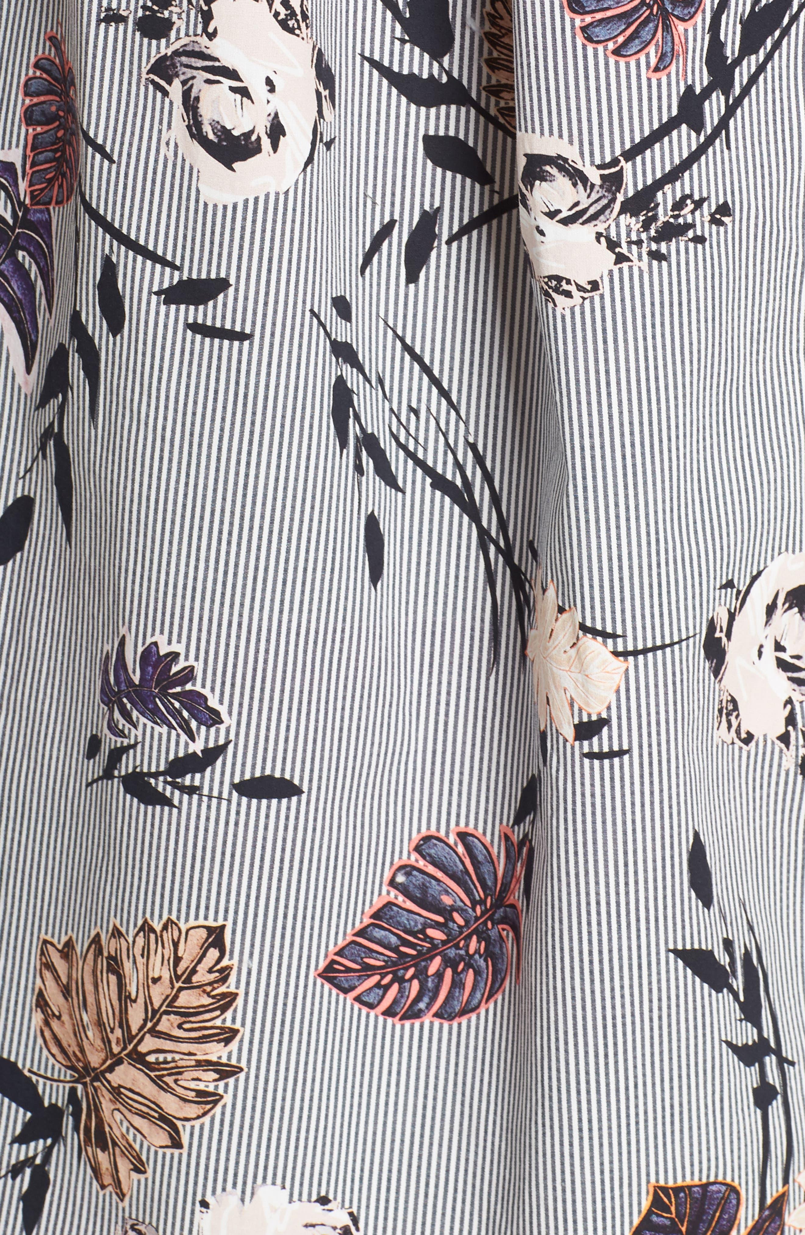 Eleni Floral Stripe Shirtdress,                             Alternate thumbnail 5, color,                             INK MULTI
