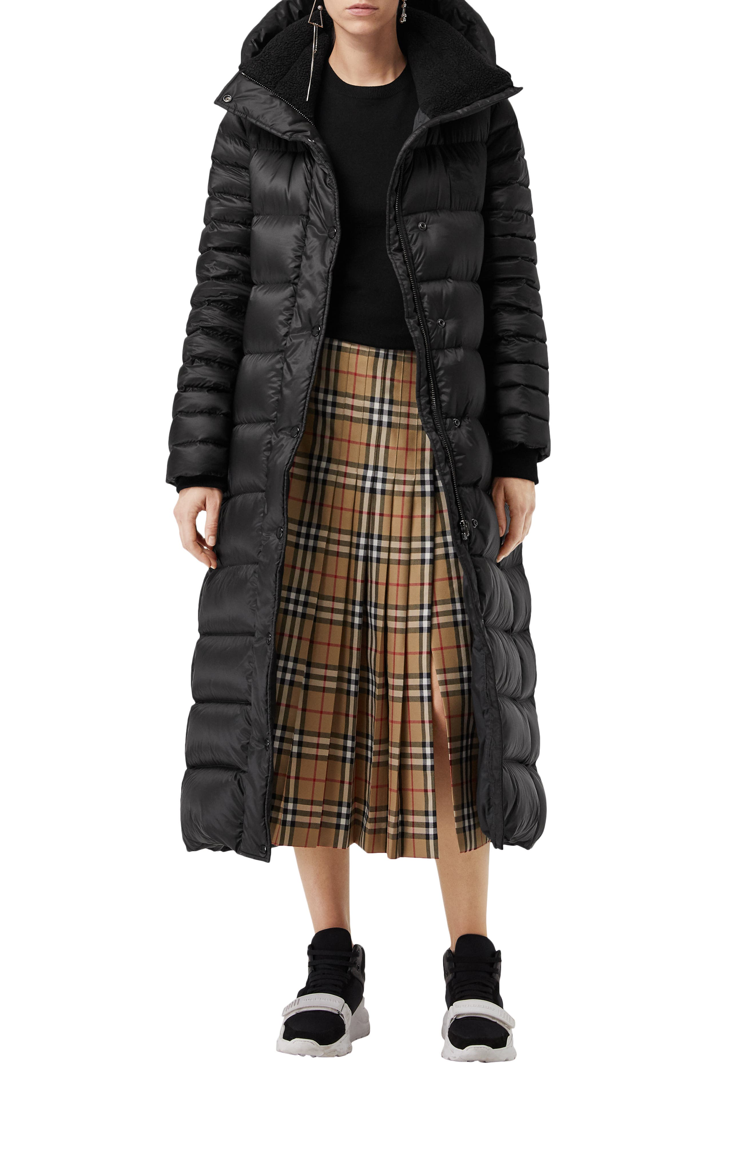 Kington Faux Fur Trim Long Down Coat,                             Alternate thumbnail 6, color,                             BLACK
