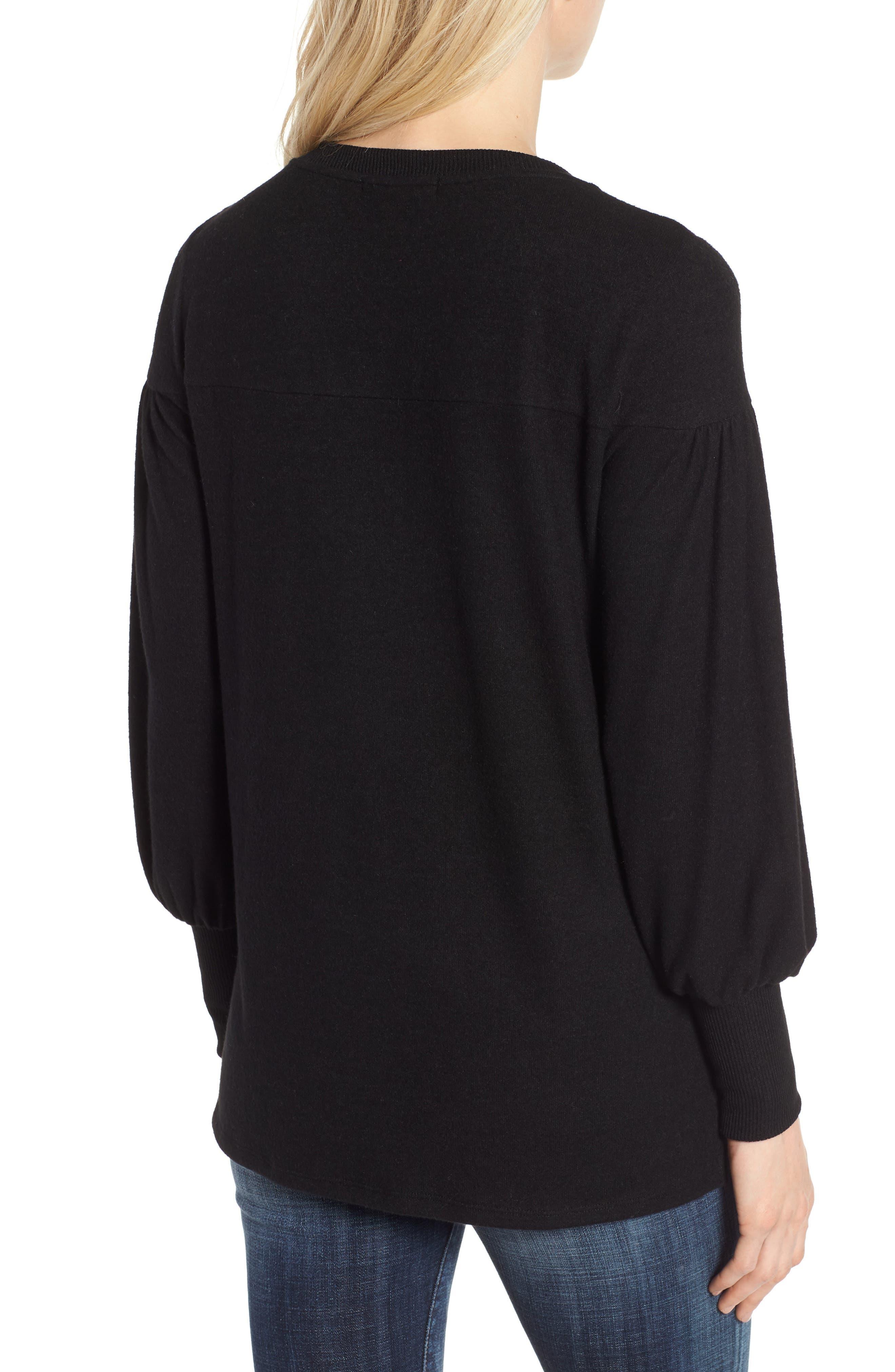 Blouson Sleeve Cozy Fleece Pullover,                             Alternate thumbnail 2, color,                             BLACK