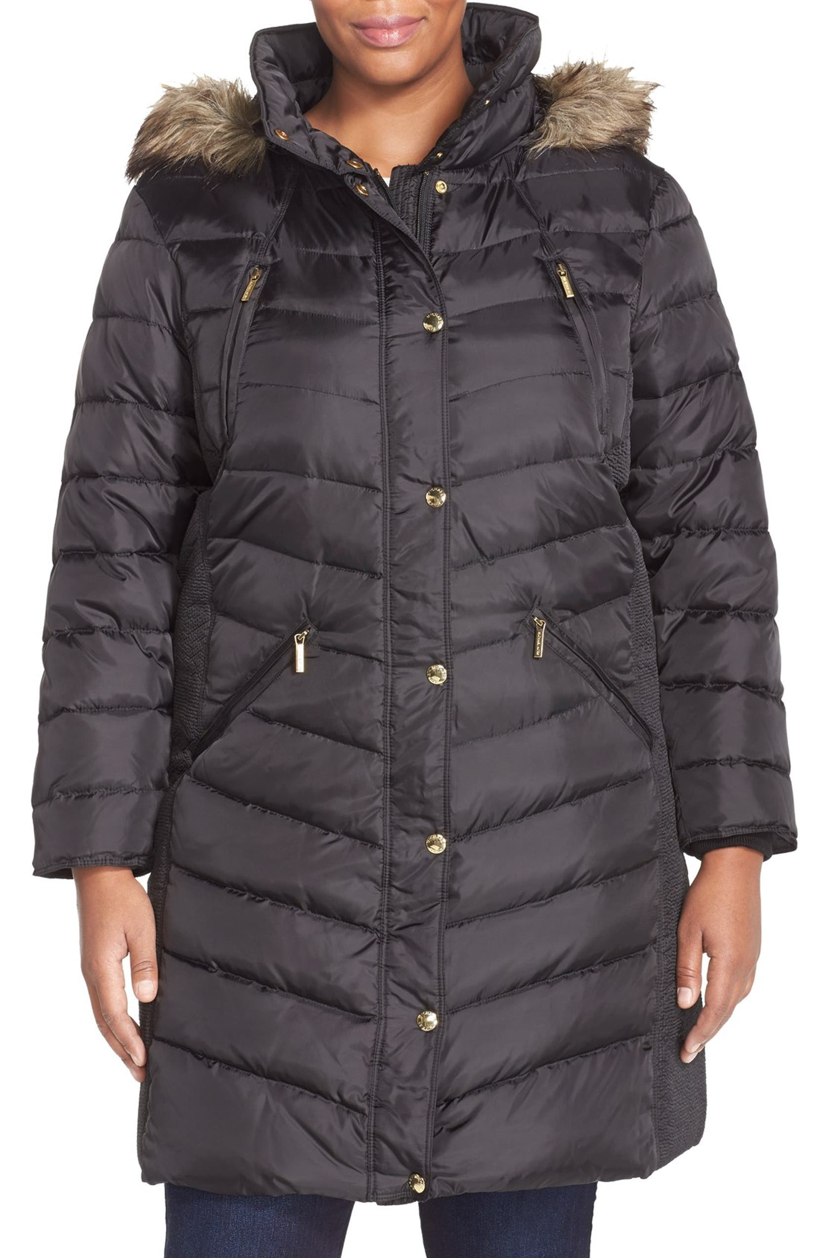 cd19e6b29a9 MICHAEL Michael Kors Faux Fur Trim Down   Feather Puffer Coat (Plus Size)