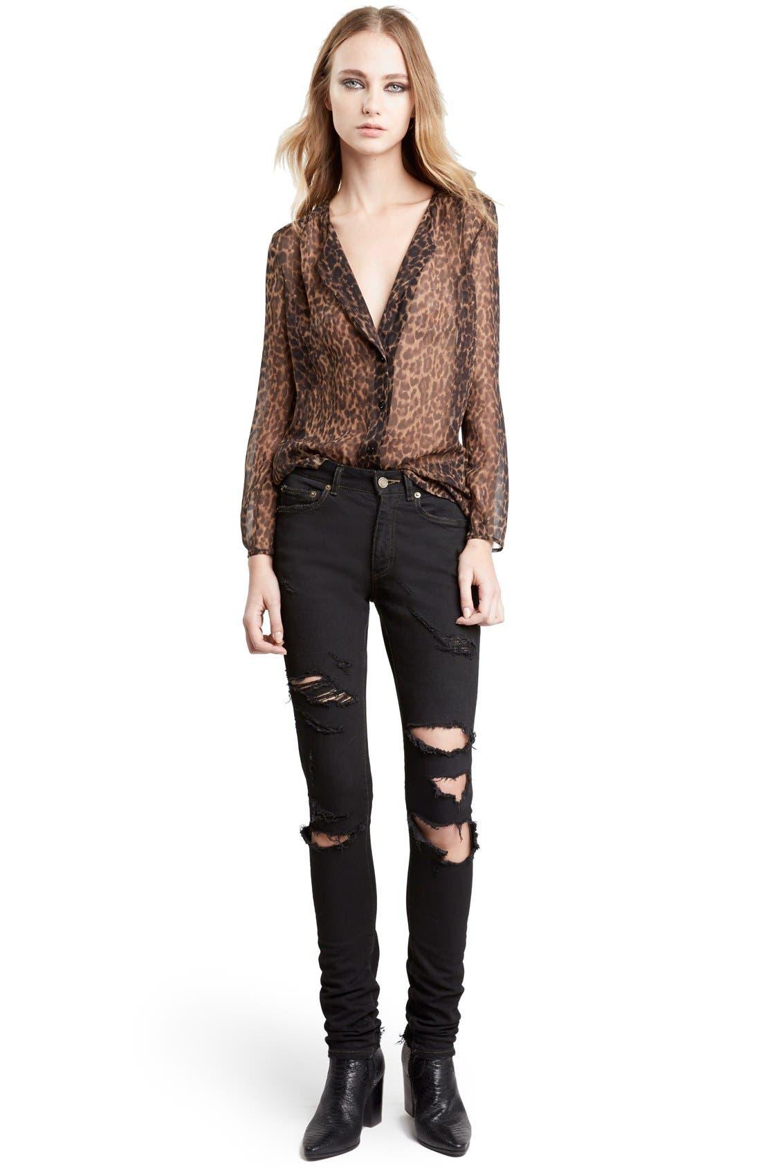 Leopard Print Collarless Silk Georgette Shirt,                             Main thumbnail 1, color,