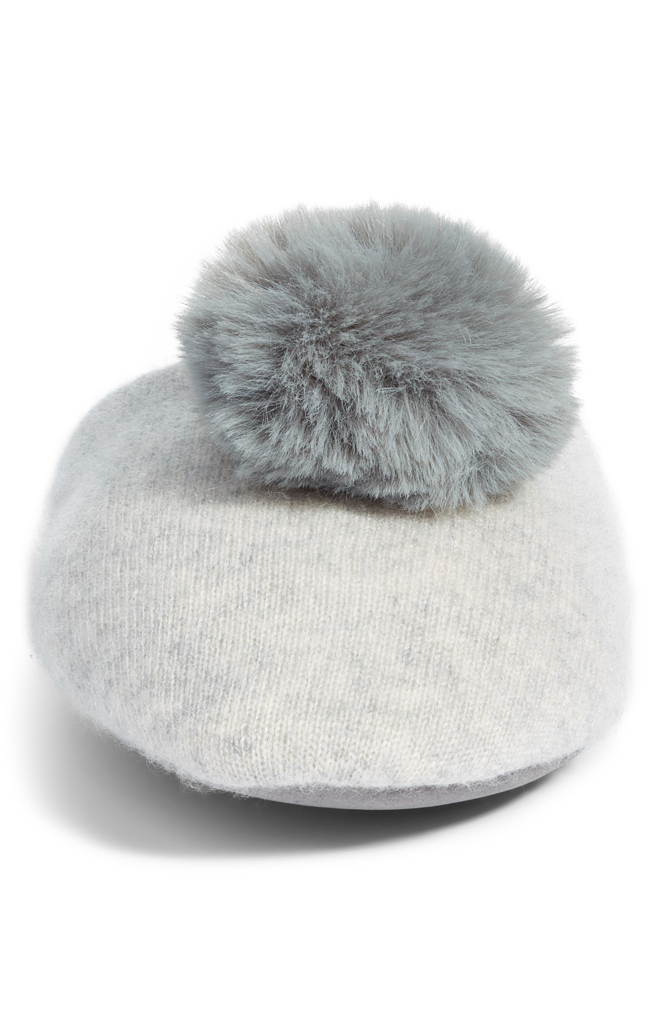 NORDSTROM,                             Wool & Cashmere Slippers with Faux Fur Pompom,                             Alternate thumbnail 4, color,                             GREY HEATHER