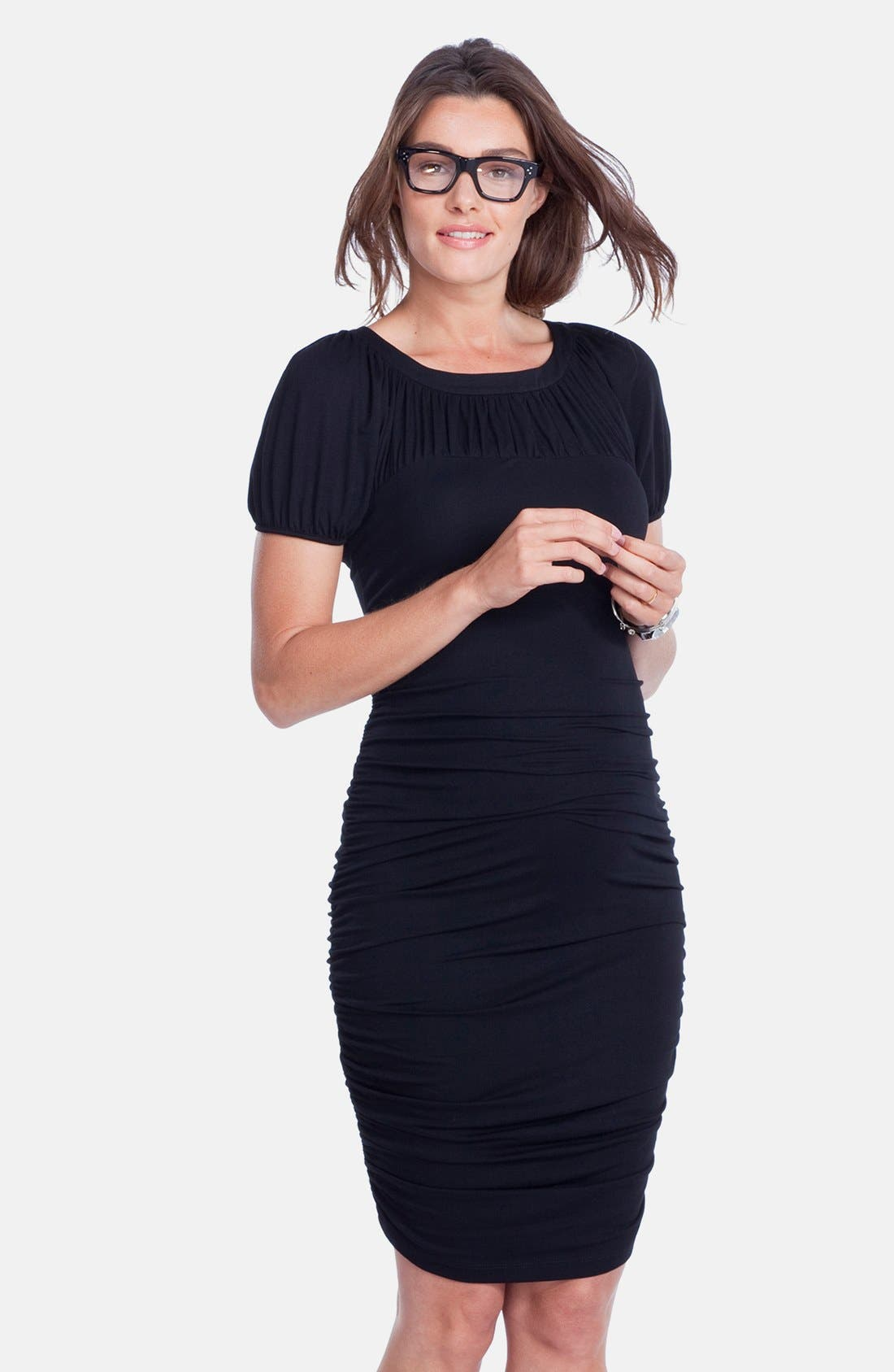 'Allerton' Ruched Maternity Dress,                             Alternate thumbnail 2, color,                             001