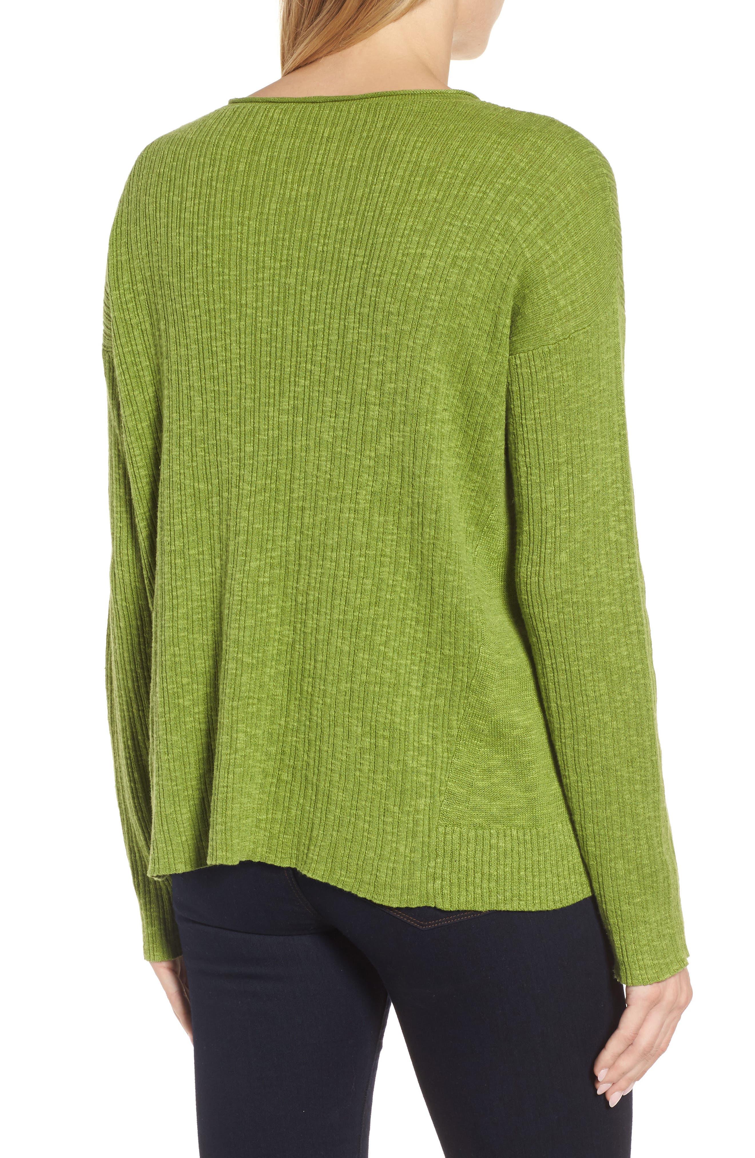 Organic Linen & Cotton Crewneck Sweater,                             Alternate thumbnail 8, color,