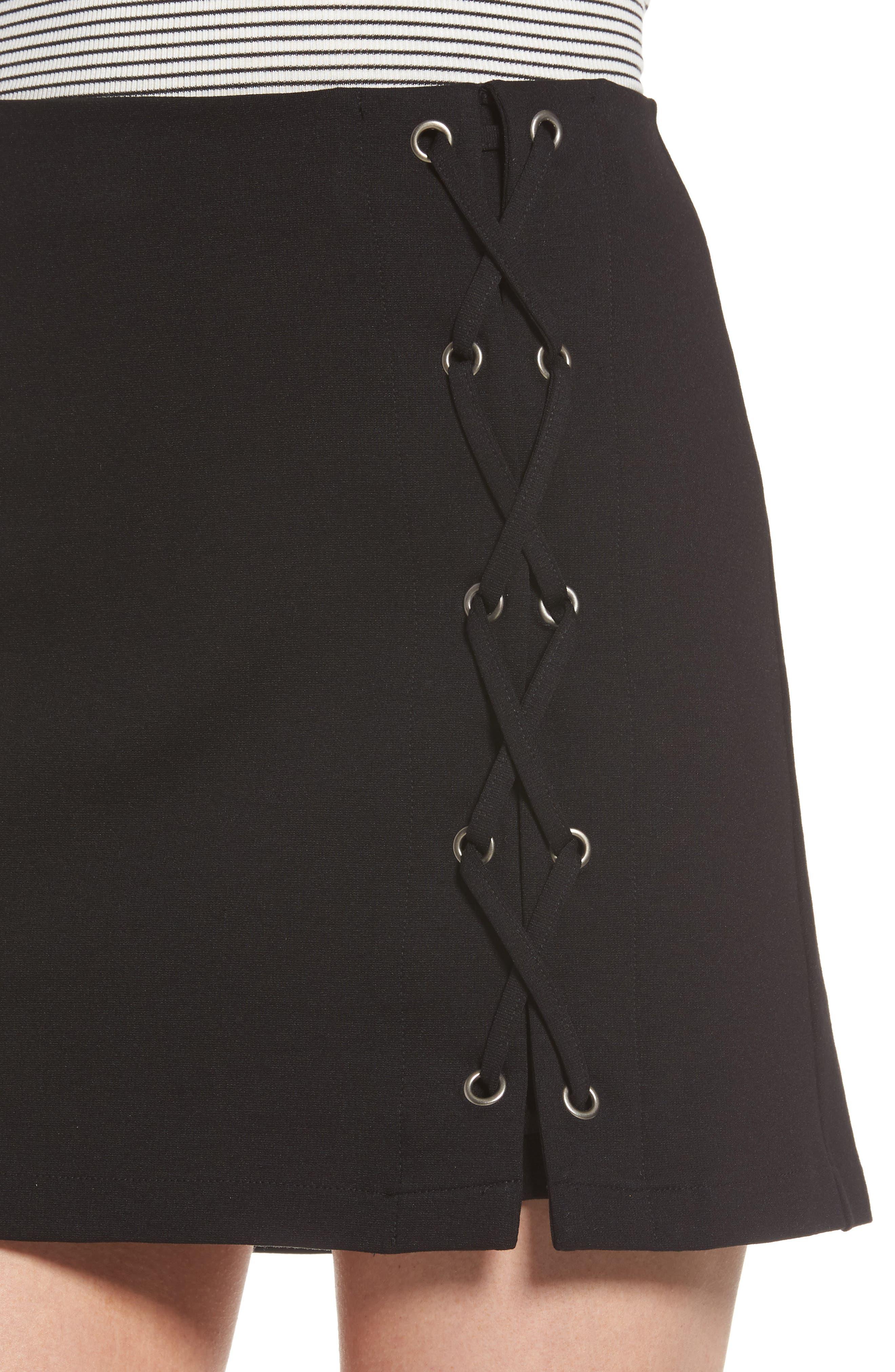 Grommet Lace-Up Miniskirt,                             Alternate thumbnail 4, color,
