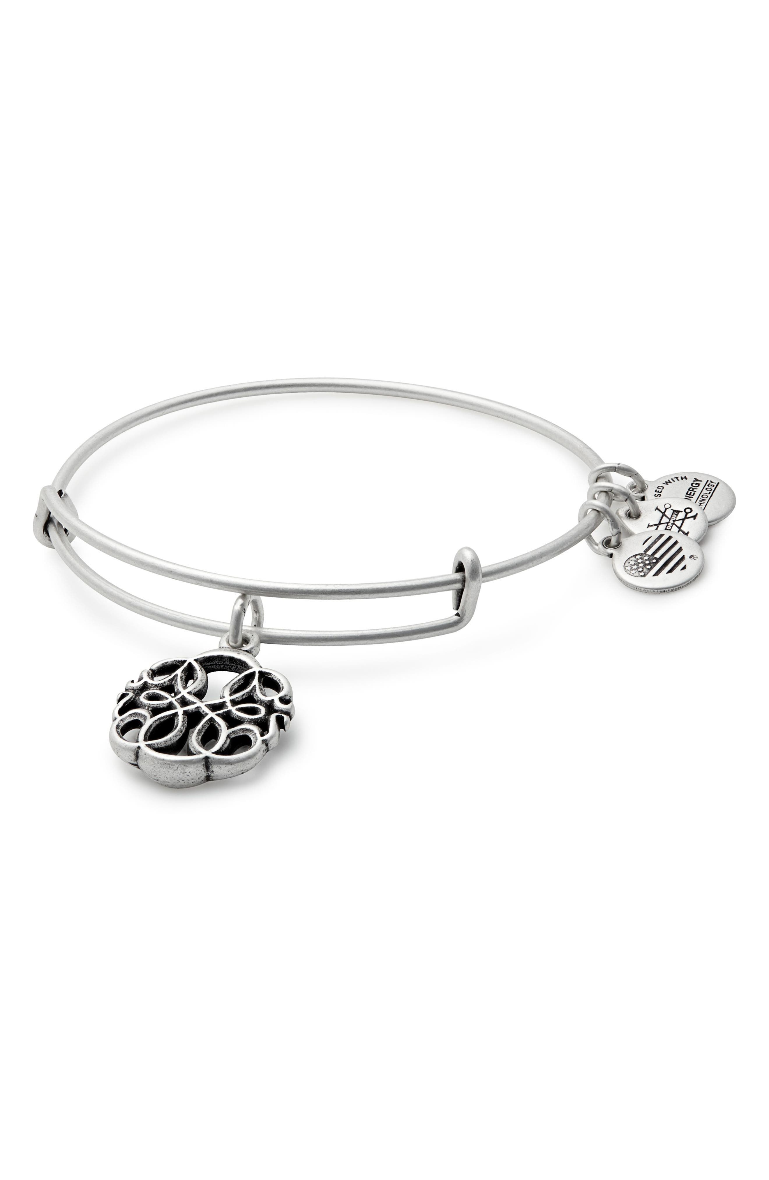 Path of Life Adjustable Wire Bangle,                             Main thumbnail 1, color,                             RUSSIAN SILVER