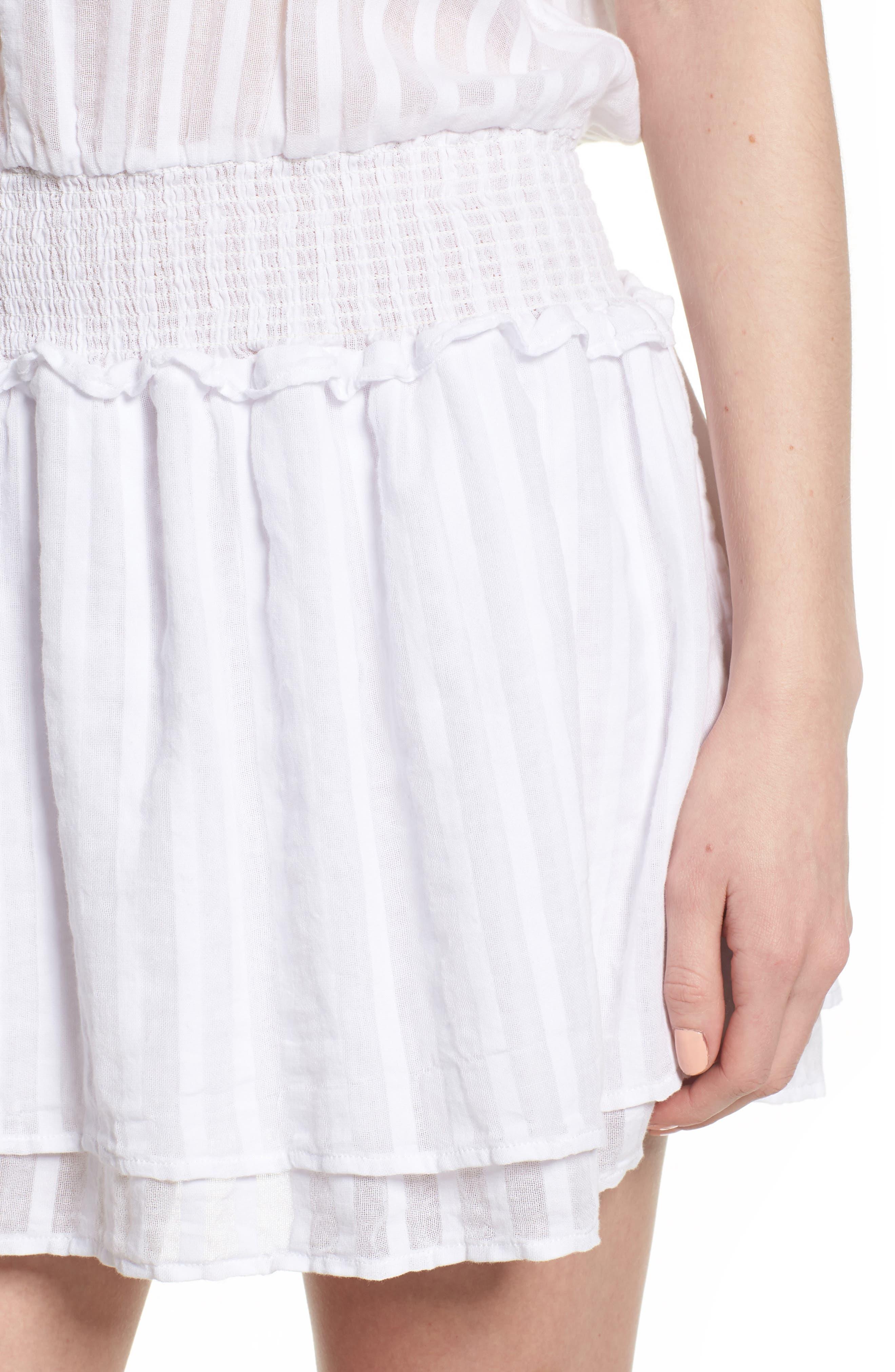 Lucca Blouson Cotton Dress,                             Alternate thumbnail 4, color,                             WHITE SHADOW STRIPE