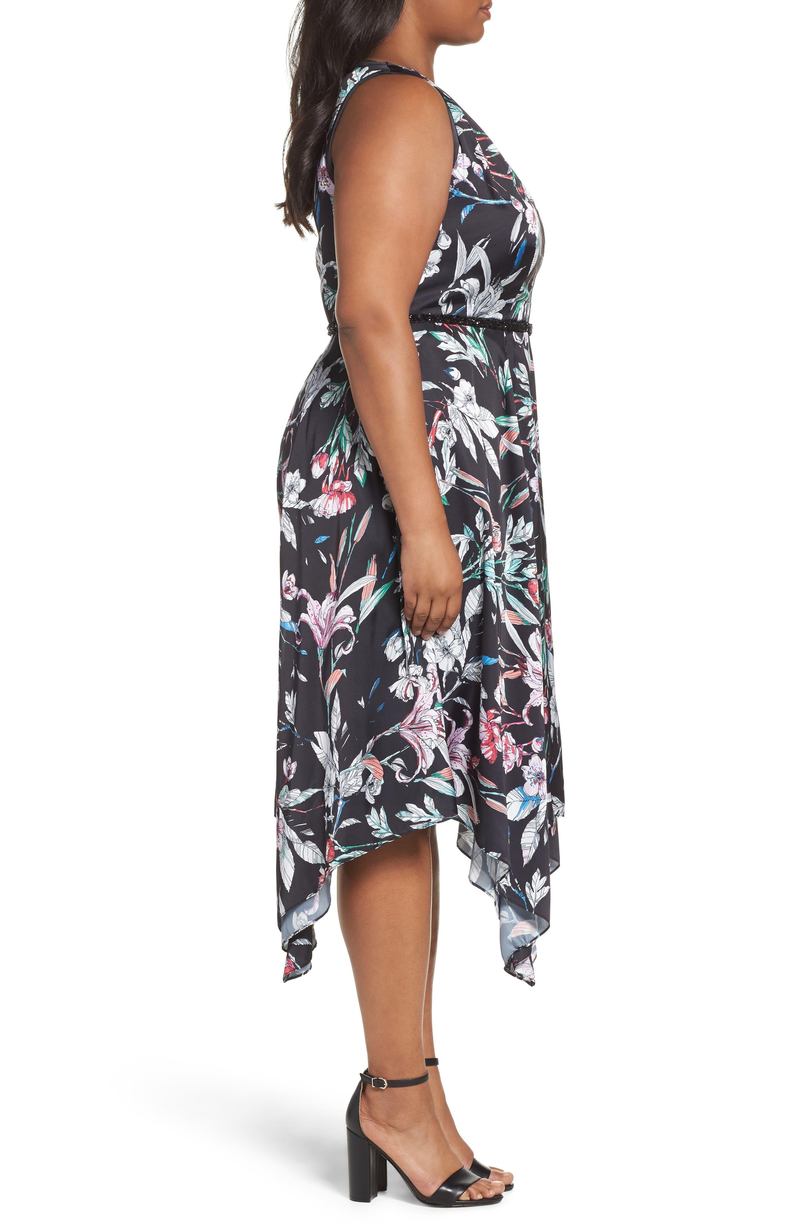 Print Satin Chiffon Handkerchief Dress,                             Alternate thumbnail 3, color,                             BLACK MULTI