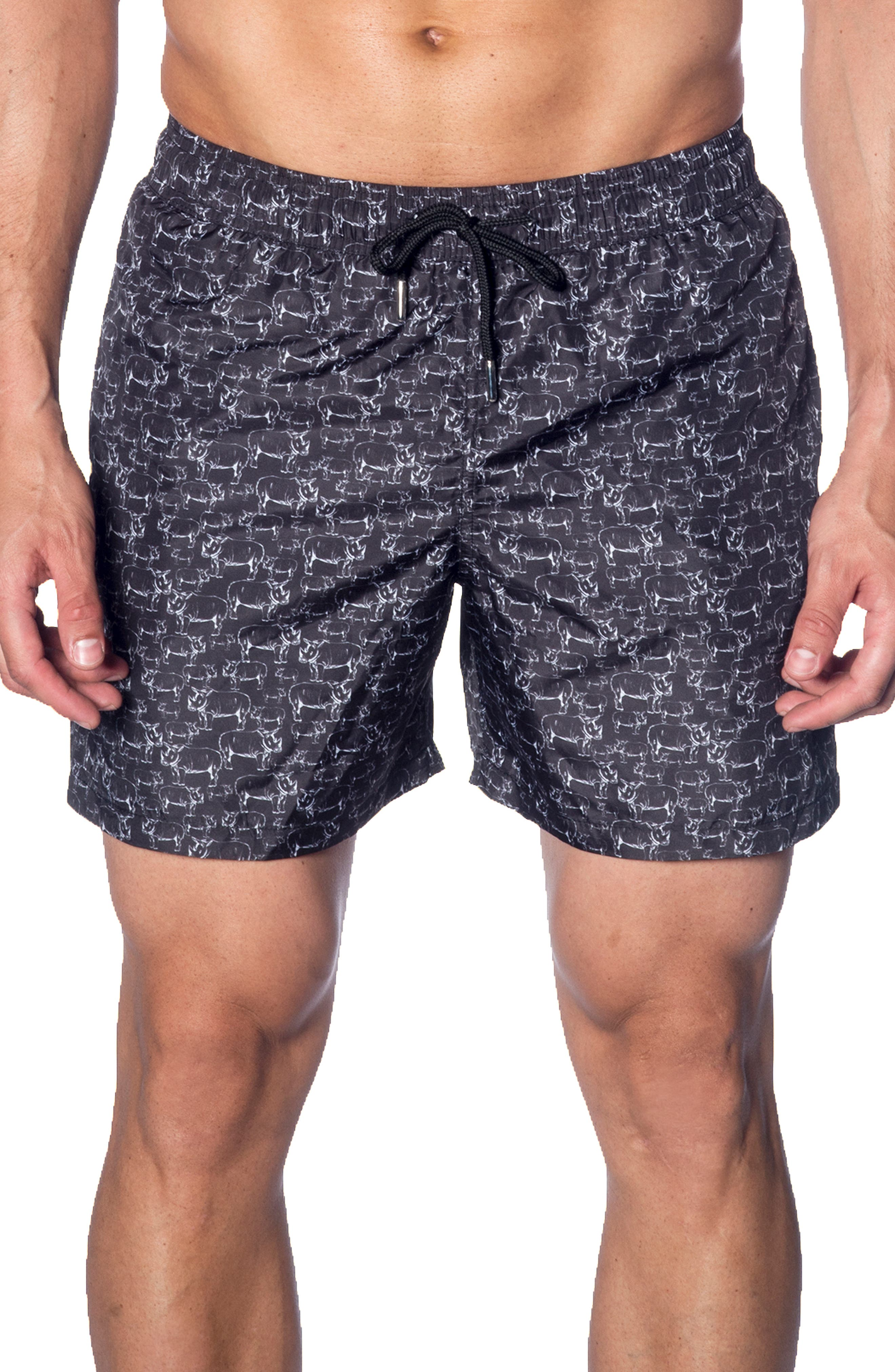 JARED LANG Swim Trunks in Black Rhinos
