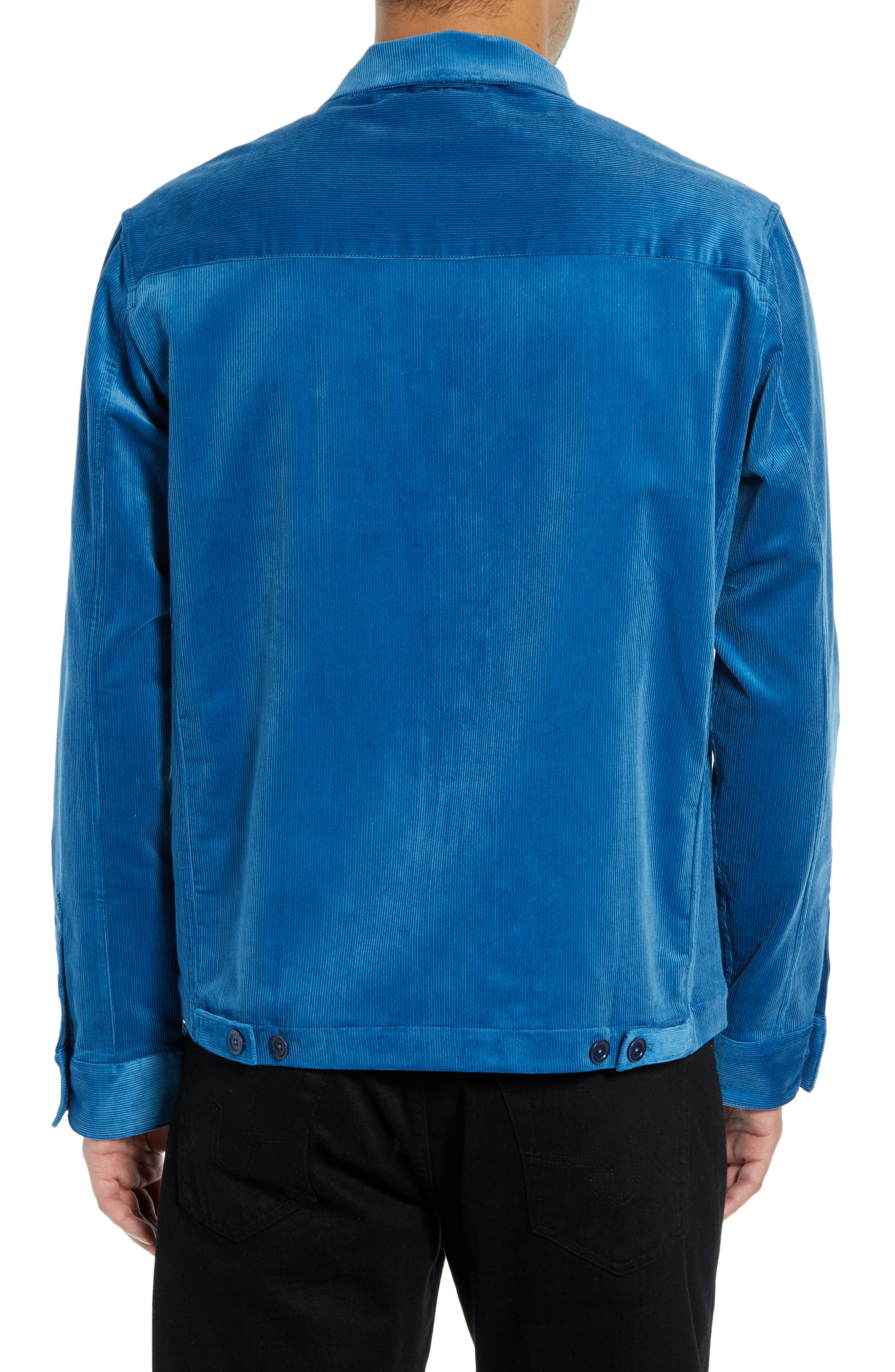 Corduroy Stretch Shirt Jacket,                             Alternate thumbnail 3, color,                             BLUE