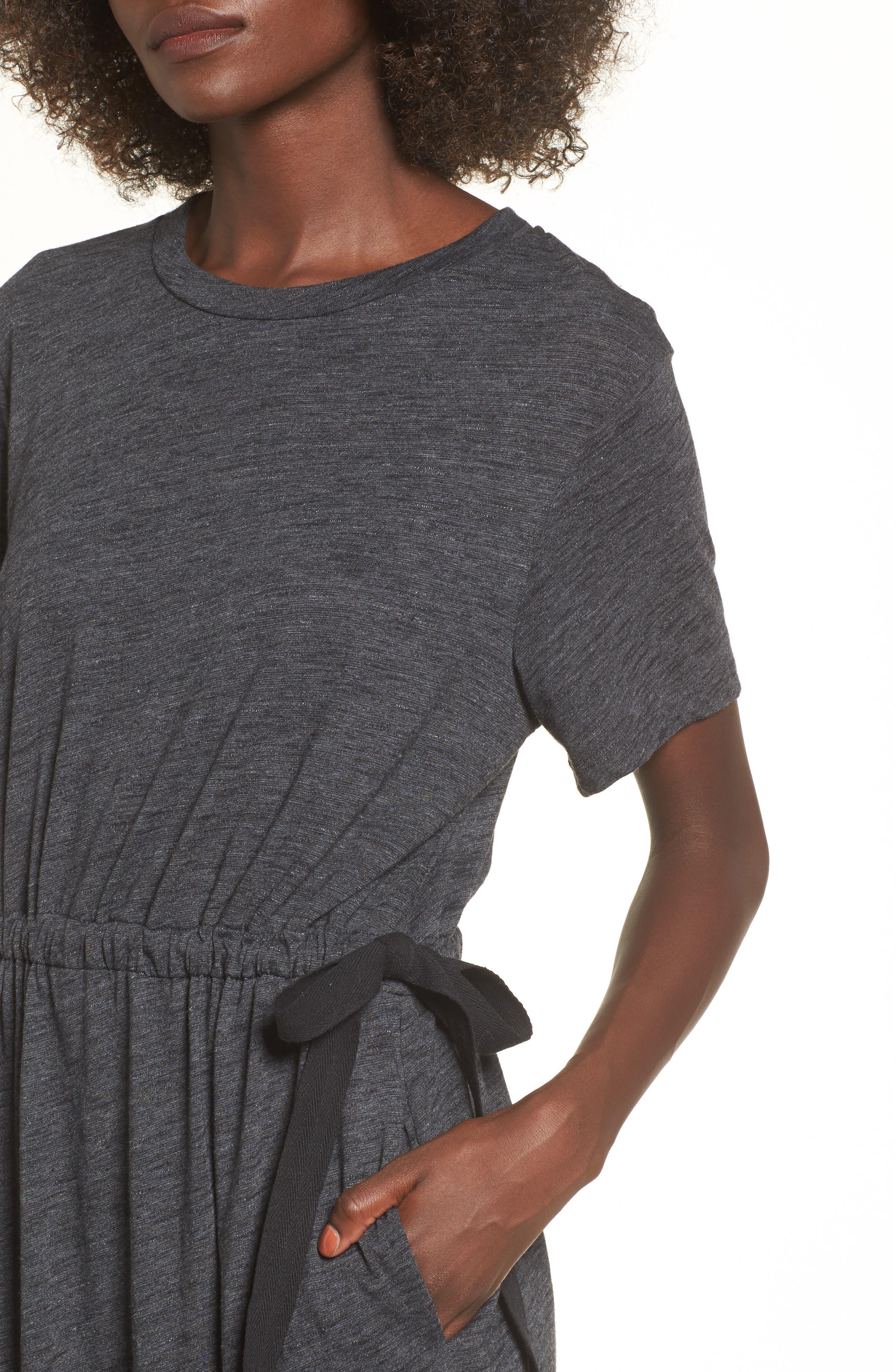Side Tie Midi T-Shirt Dress,                             Alternate thumbnail 4, color,                             020
