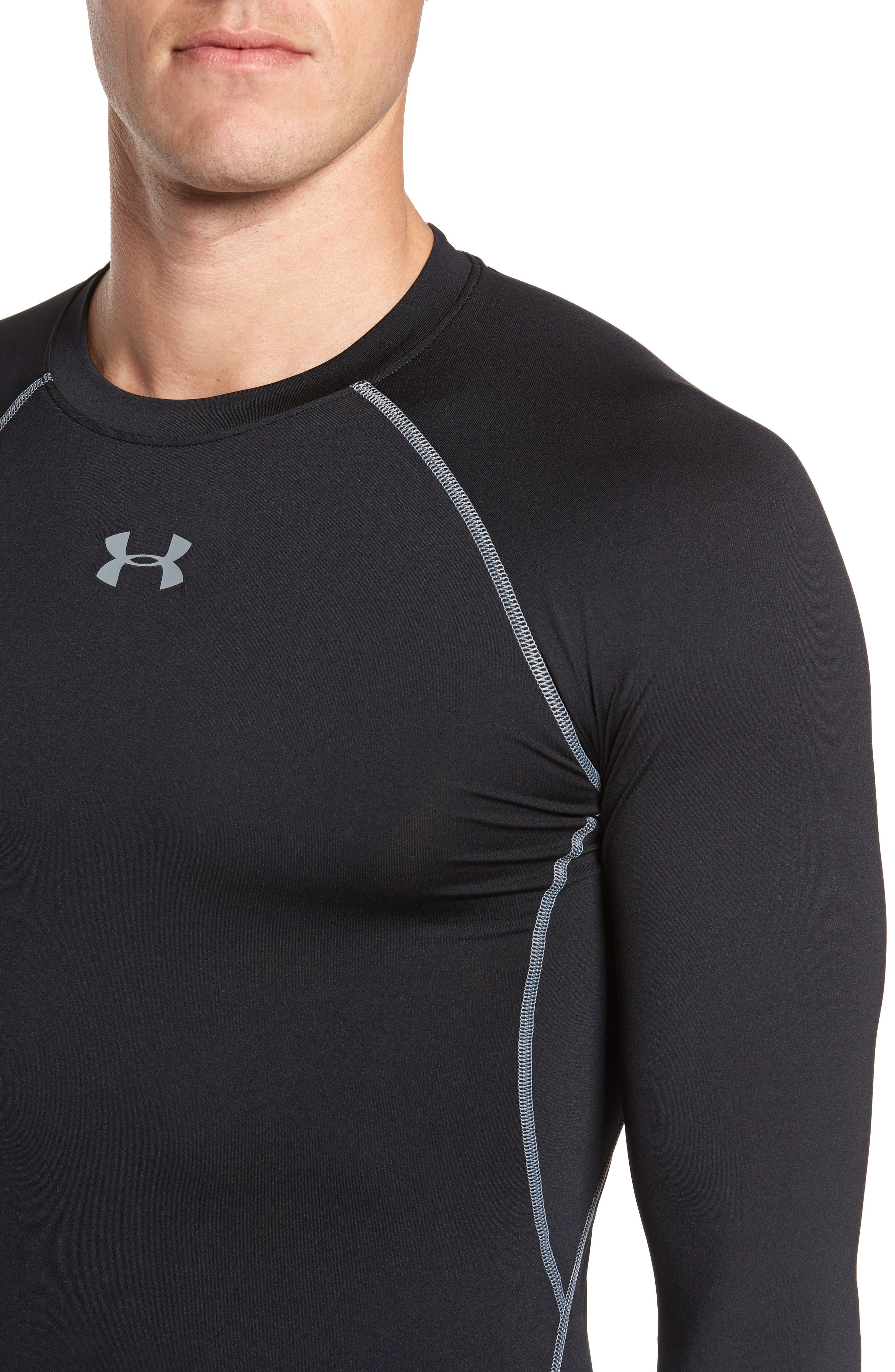 HeatGear<sup>®</sup> Compression Fit Long Sleeve T-Shirt,                             Alternate thumbnail 4, color,                             BLACK/ STEEL