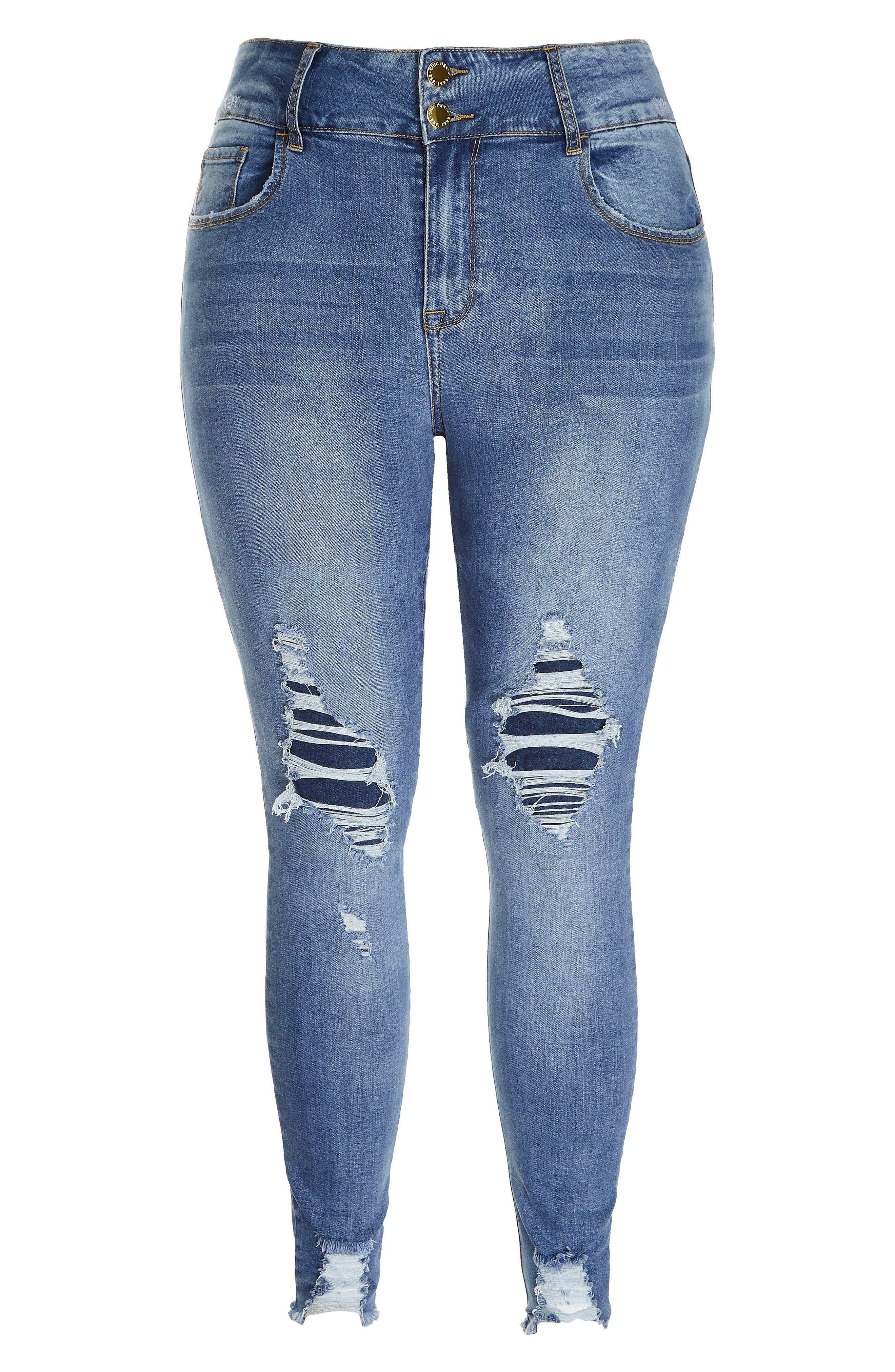 Asha Rip Detail Jeans,                             Alternate thumbnail 3, color,                             MID DENIM