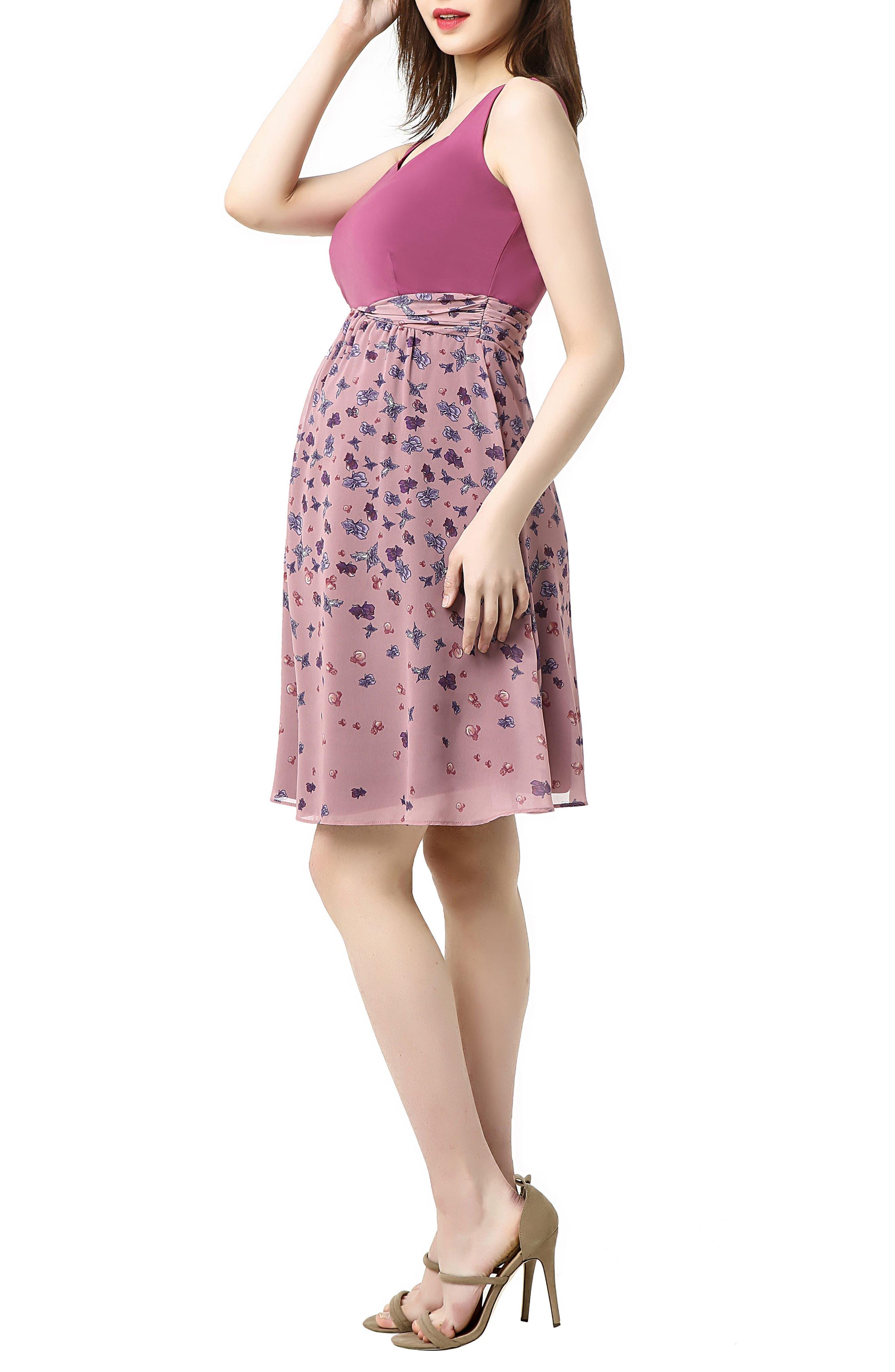 Libby Print Skirt Maternity Dress,                             Alternate thumbnail 3, color,                             ROSE PINK