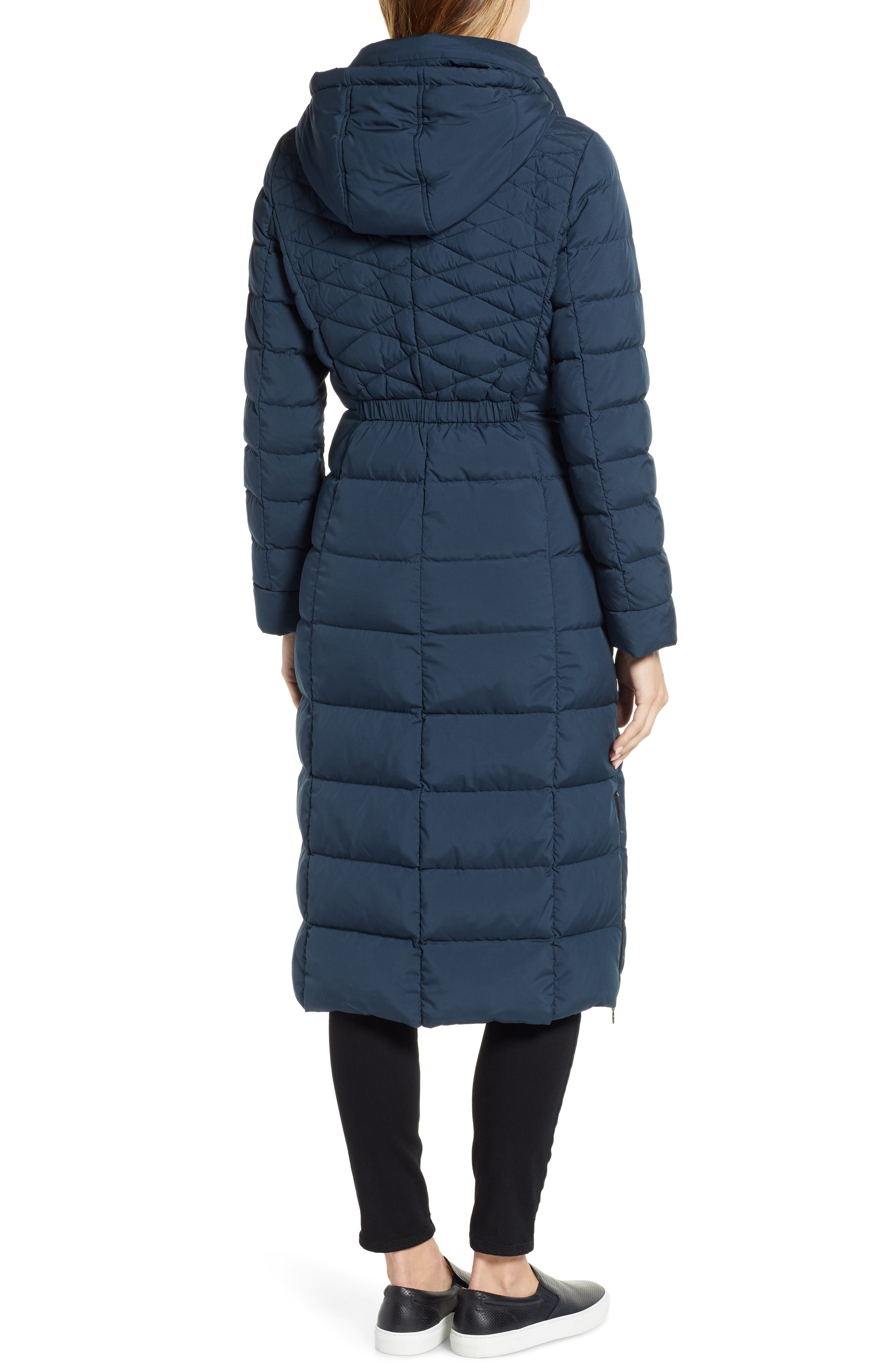Quilted Long Coat with Down & PrimaLoft<sup>®</sup> Fill,                             Alternate thumbnail 2, color,                             DEEP WATER
