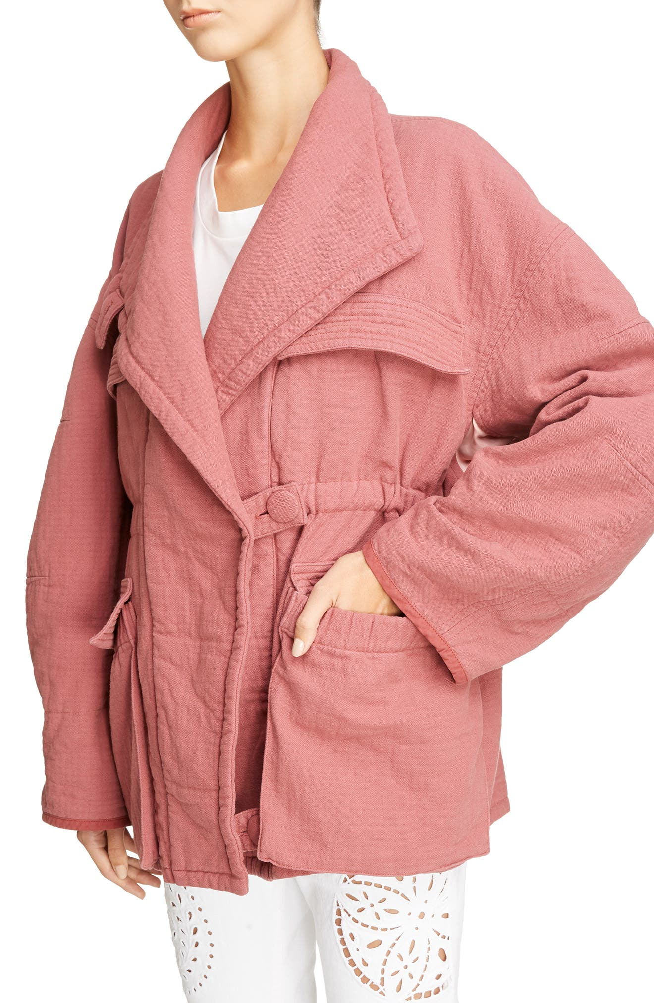 Oversize Textured Cotton Jacket,                             Alternate thumbnail 4, color,                             600