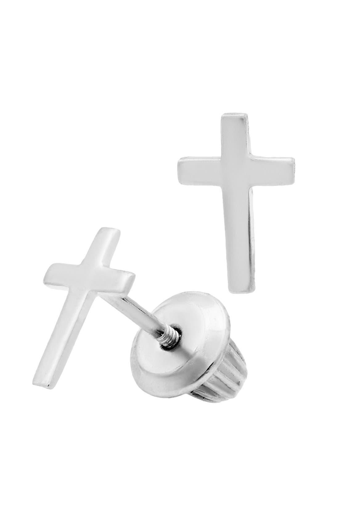 Girls Mignonette Sterling Silver Cross Earrings
