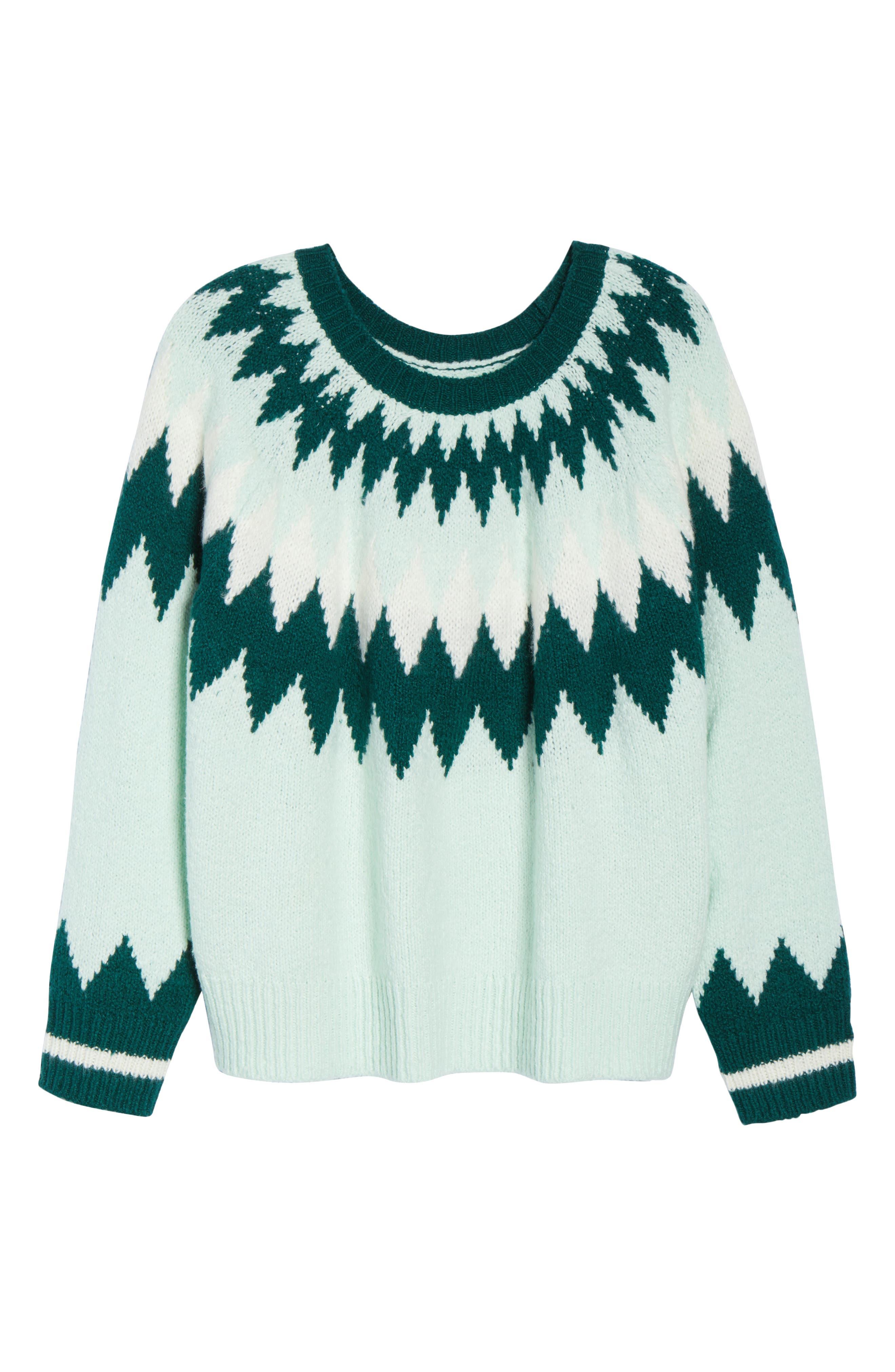 Cozy Ski Sweater,                             Alternate thumbnail 6, color,                             GREEN PLACID FAIRISLE