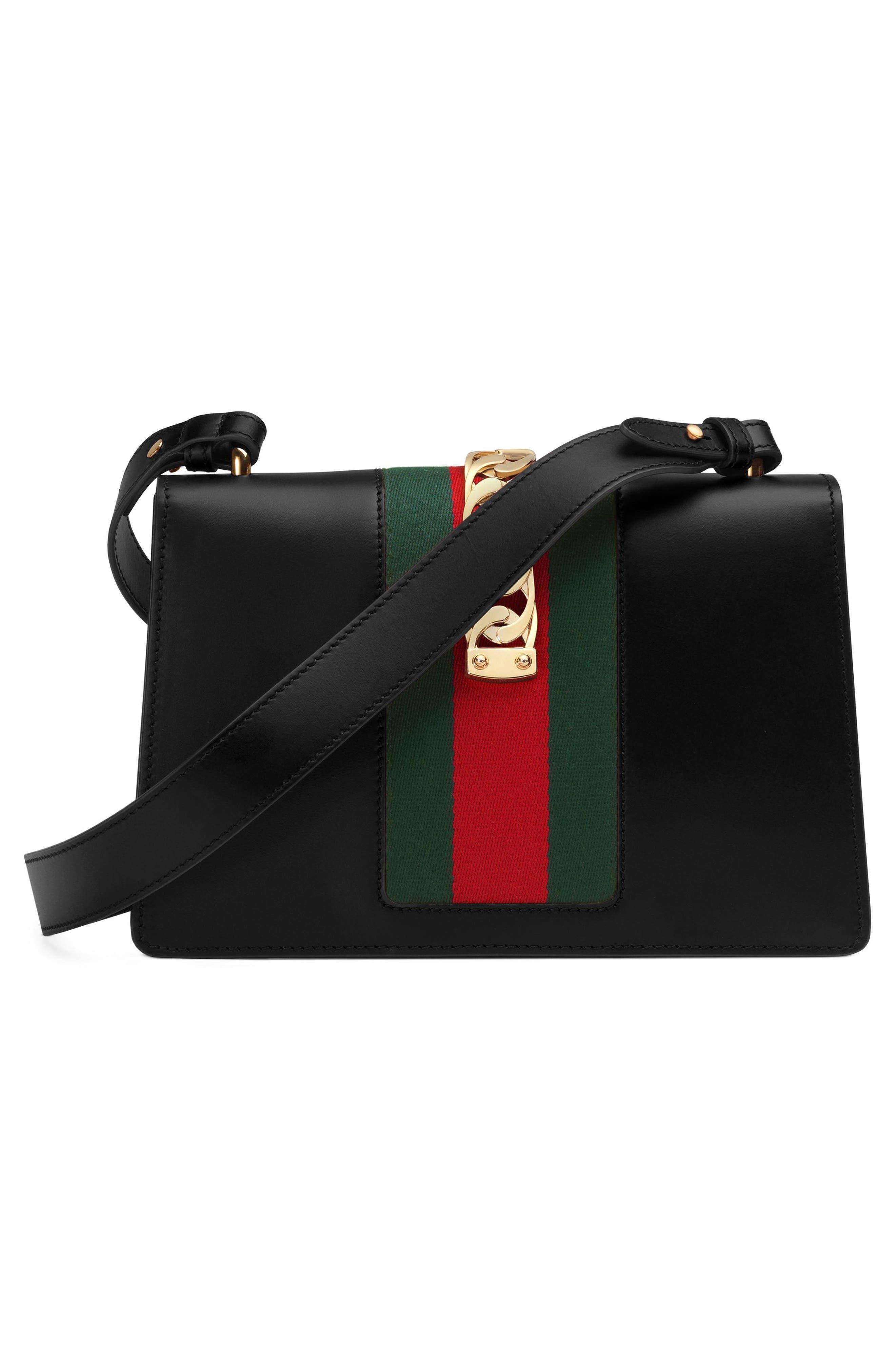 Small Sylvie Leather Shoulder Bag,                             Alternate thumbnail 6, color,                             NERO/ VRV/ BRB
