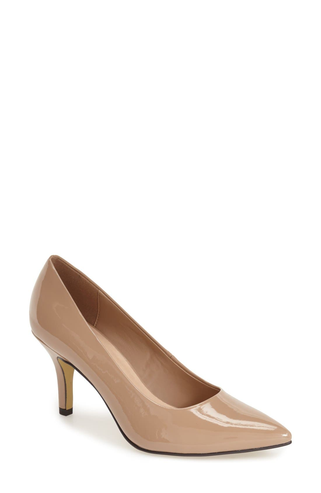 'Define' Pointy Toe Pump,                             Main thumbnail 1, color,                             NUDE PATENT