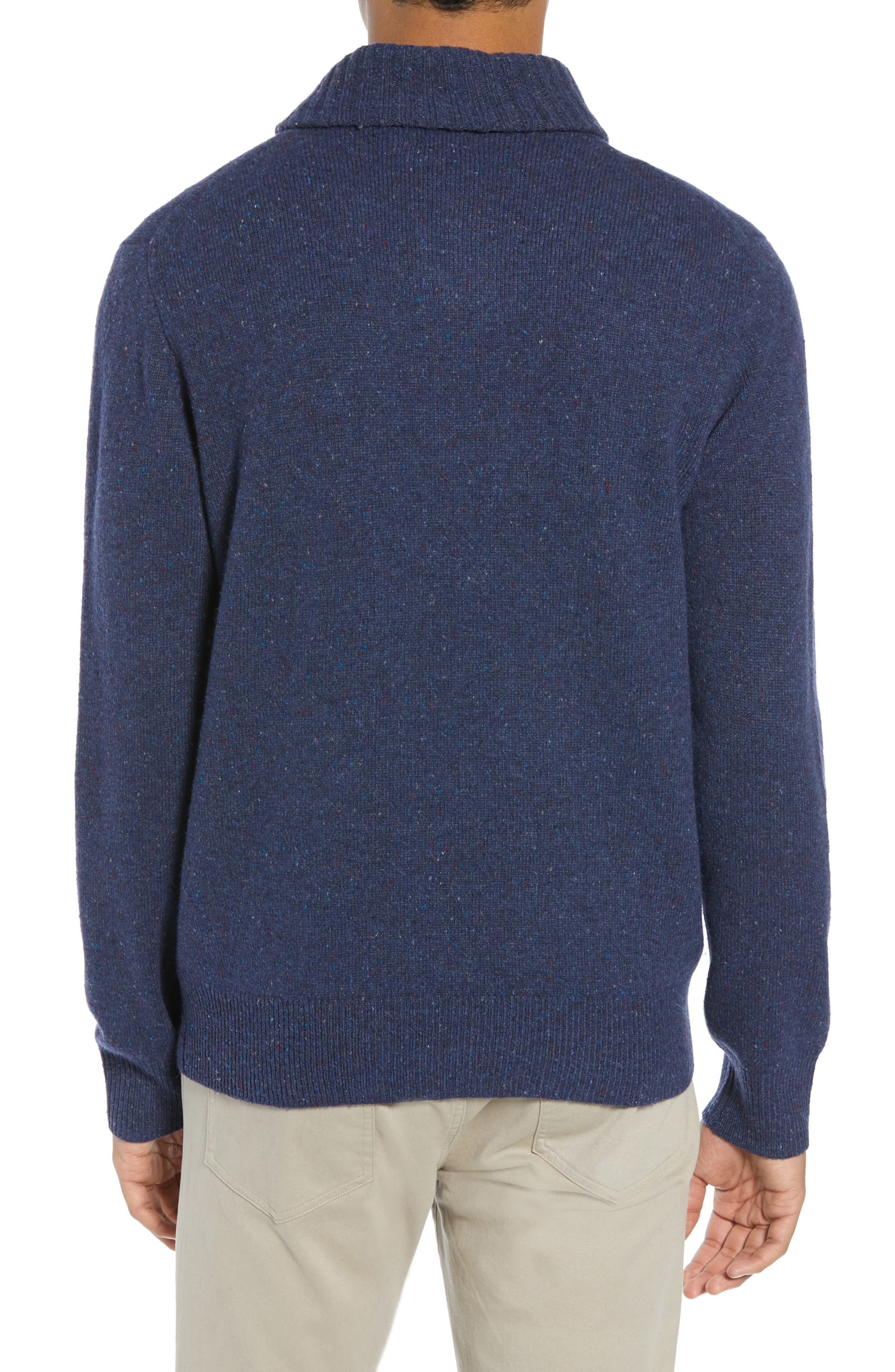 Rugged Merino Wool Blend Shawl Collar Pullover Sweater,                             Alternate thumbnail 2, color,                             NAVY DONEGAL