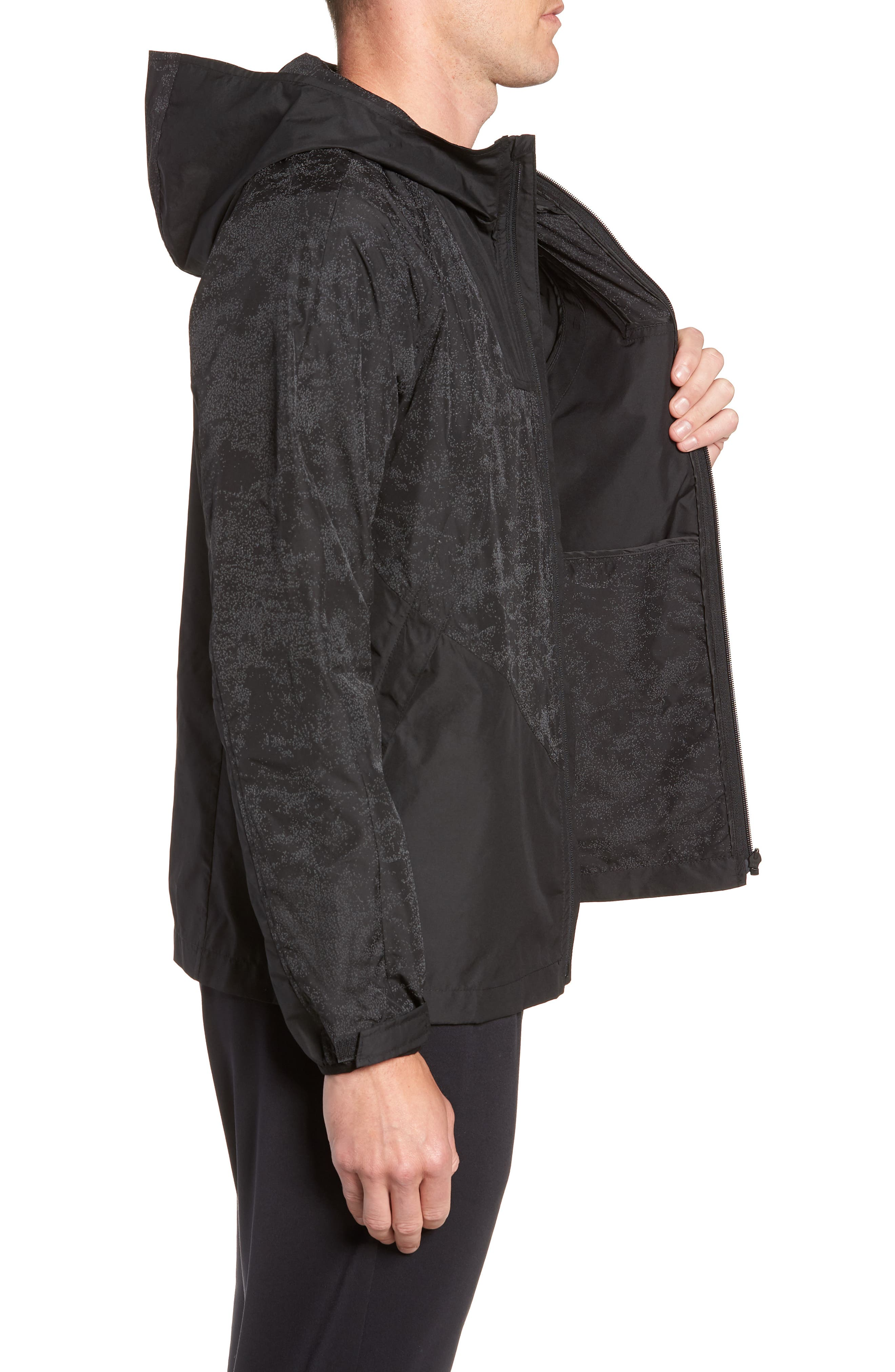 Hooded Reflective Jacket,                             Alternate thumbnail 3, color,                             BLACK REFLECTIVE