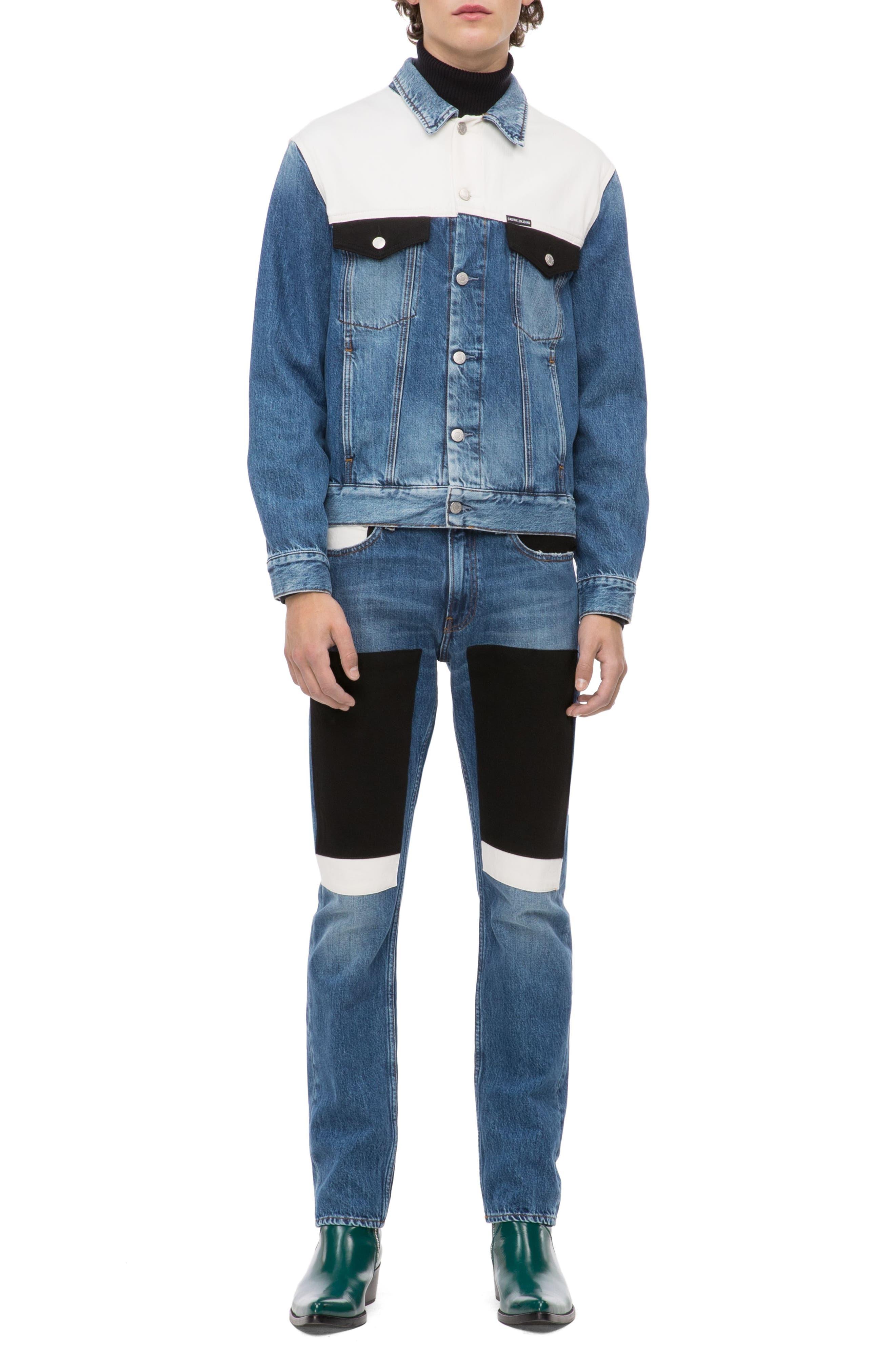 Slim Fit Colorblock Jeans,                             Alternate thumbnail 4, color,                             400