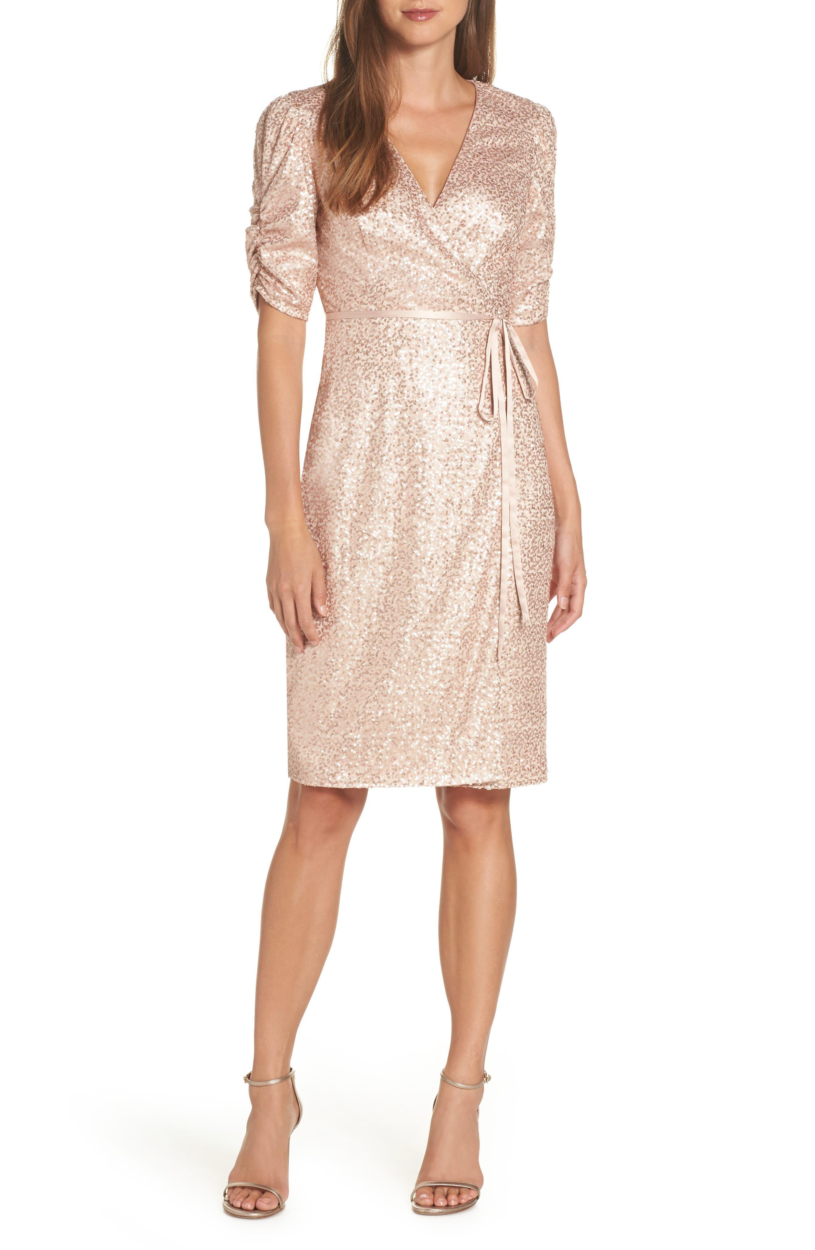 Sequin Faux Wrap Dress,                         Main,                         color, NUDE