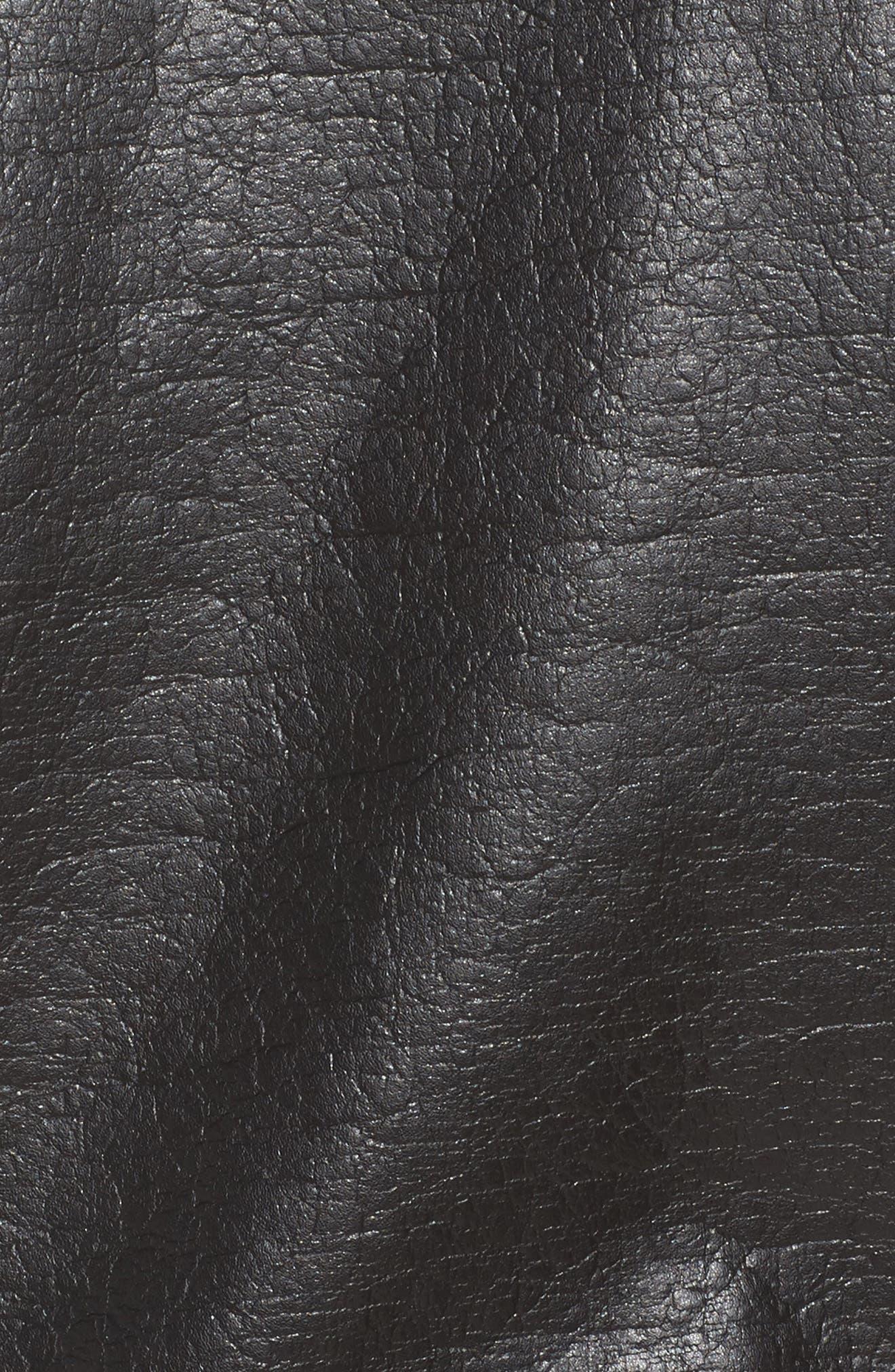 Fleece Lined Faux Leather Jacket,                             Alternate thumbnail 7, color,                             001