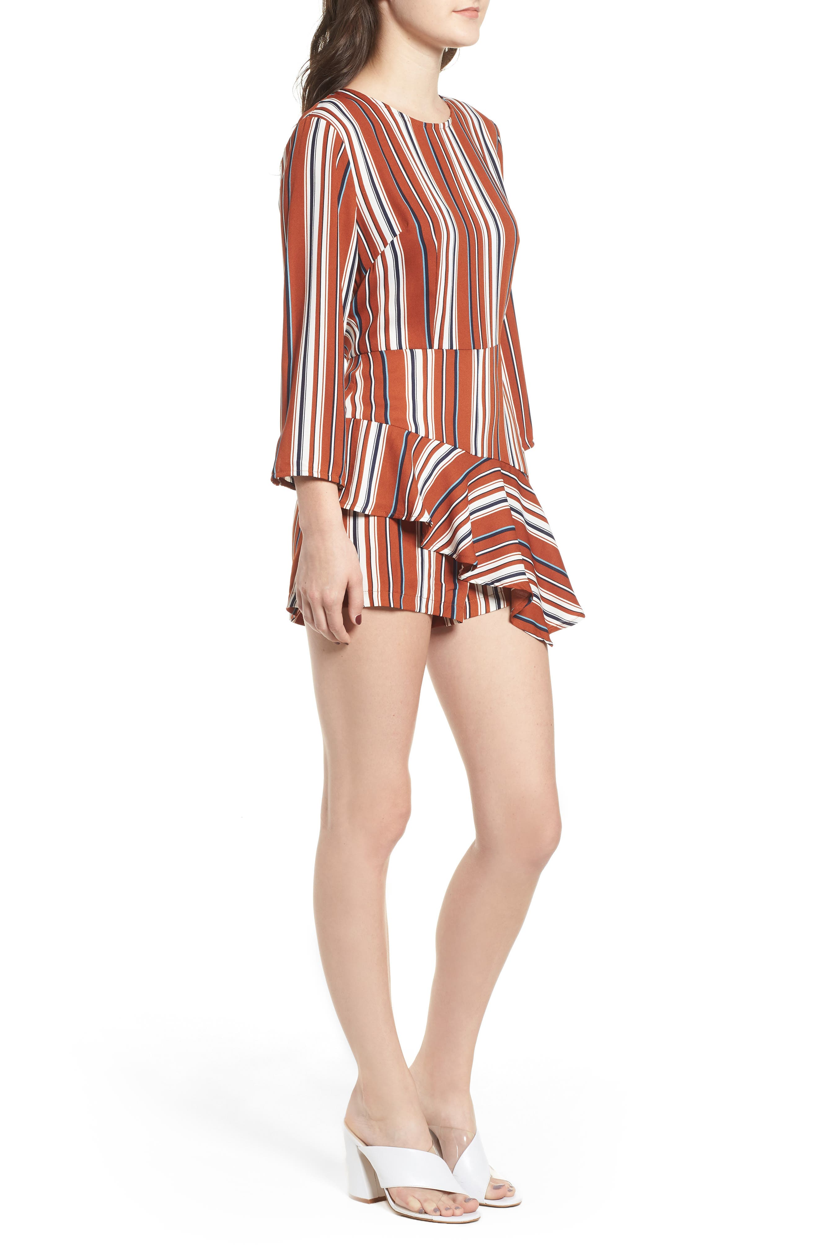 Ruffle Hem Romper,                             Alternate thumbnail 3, color,                             RUST STRIPE