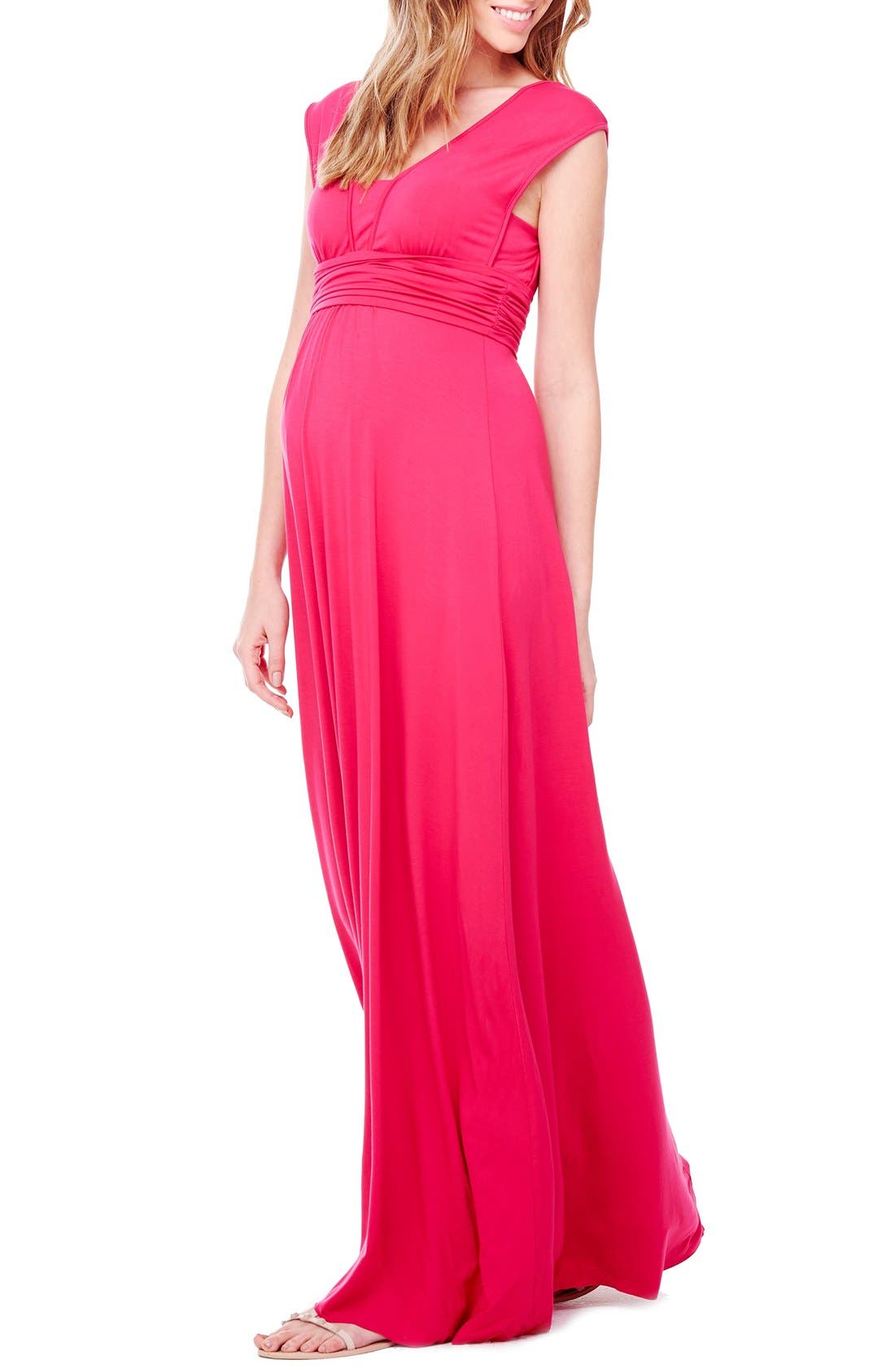 Empire Waist Maternity Maxi Dress,                             Main thumbnail 3, color,