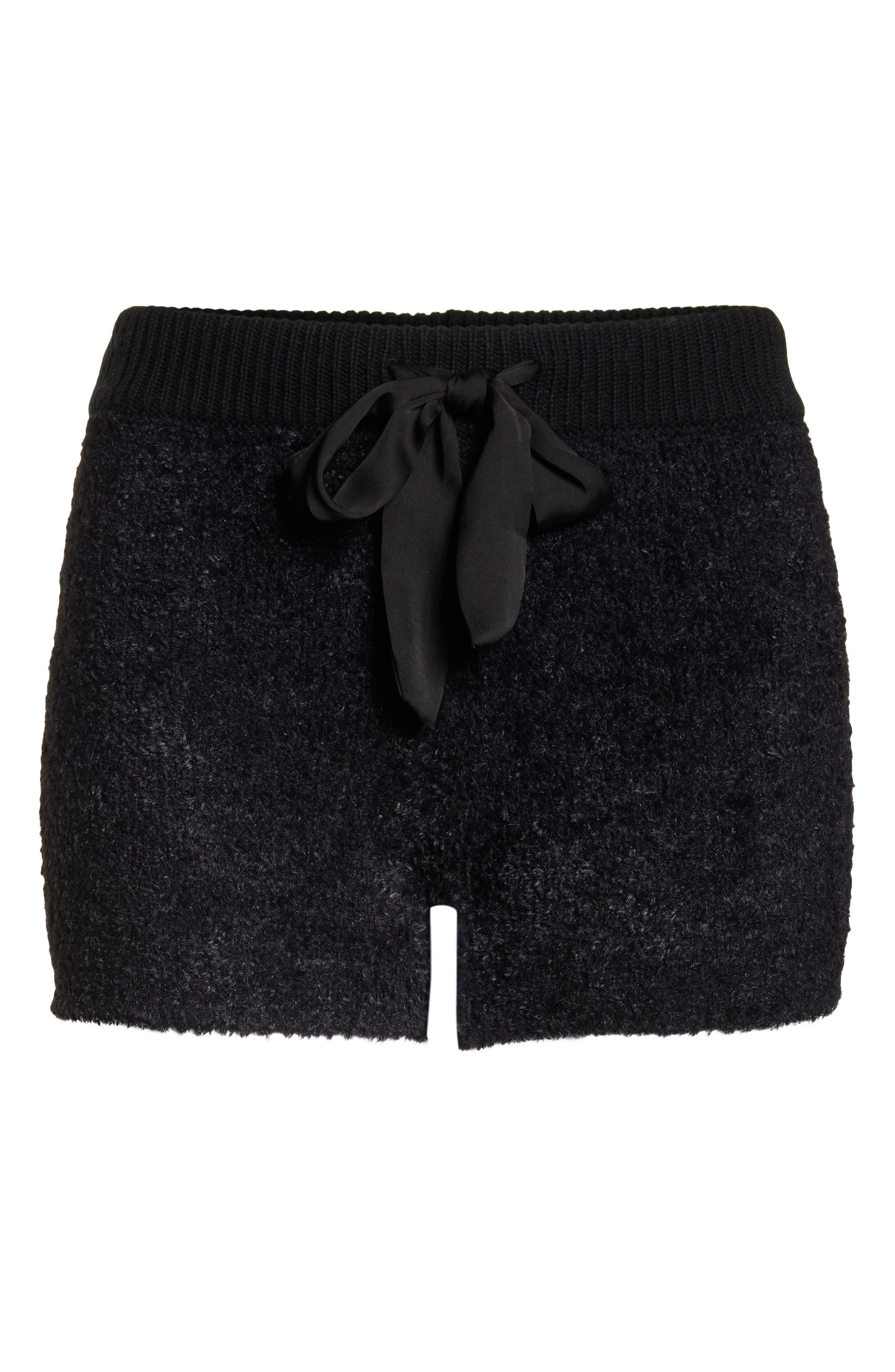 Fuzzy Lounge Shorts,                             Alternate thumbnail 6, color,                             BLACK