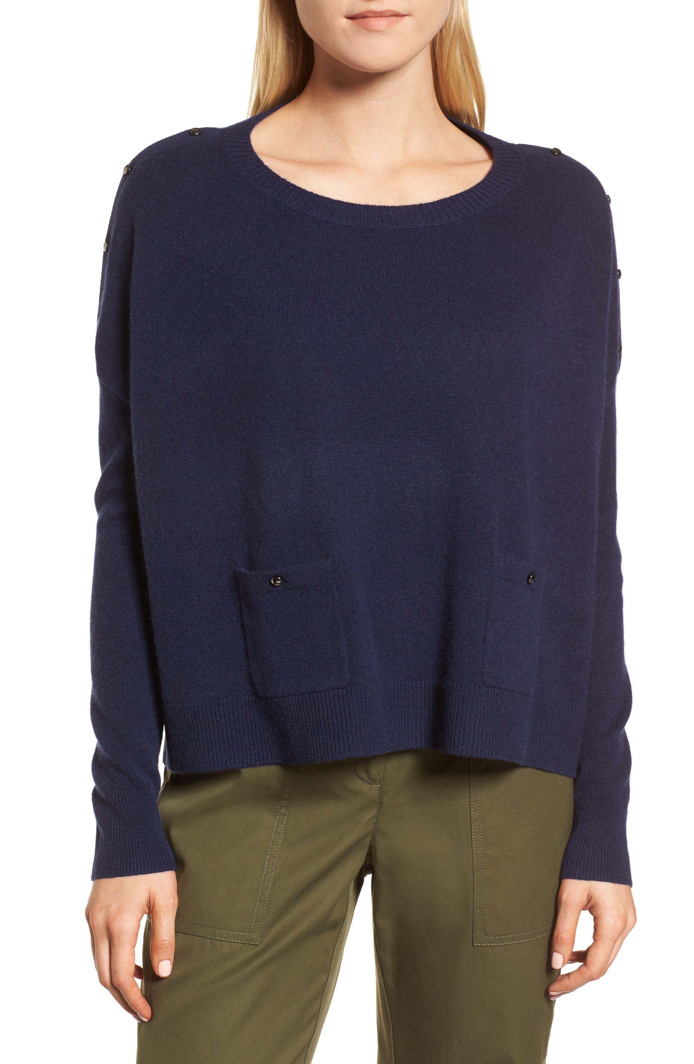 Button Detail Cashmere Sweater,                             Main thumbnail 2, color,